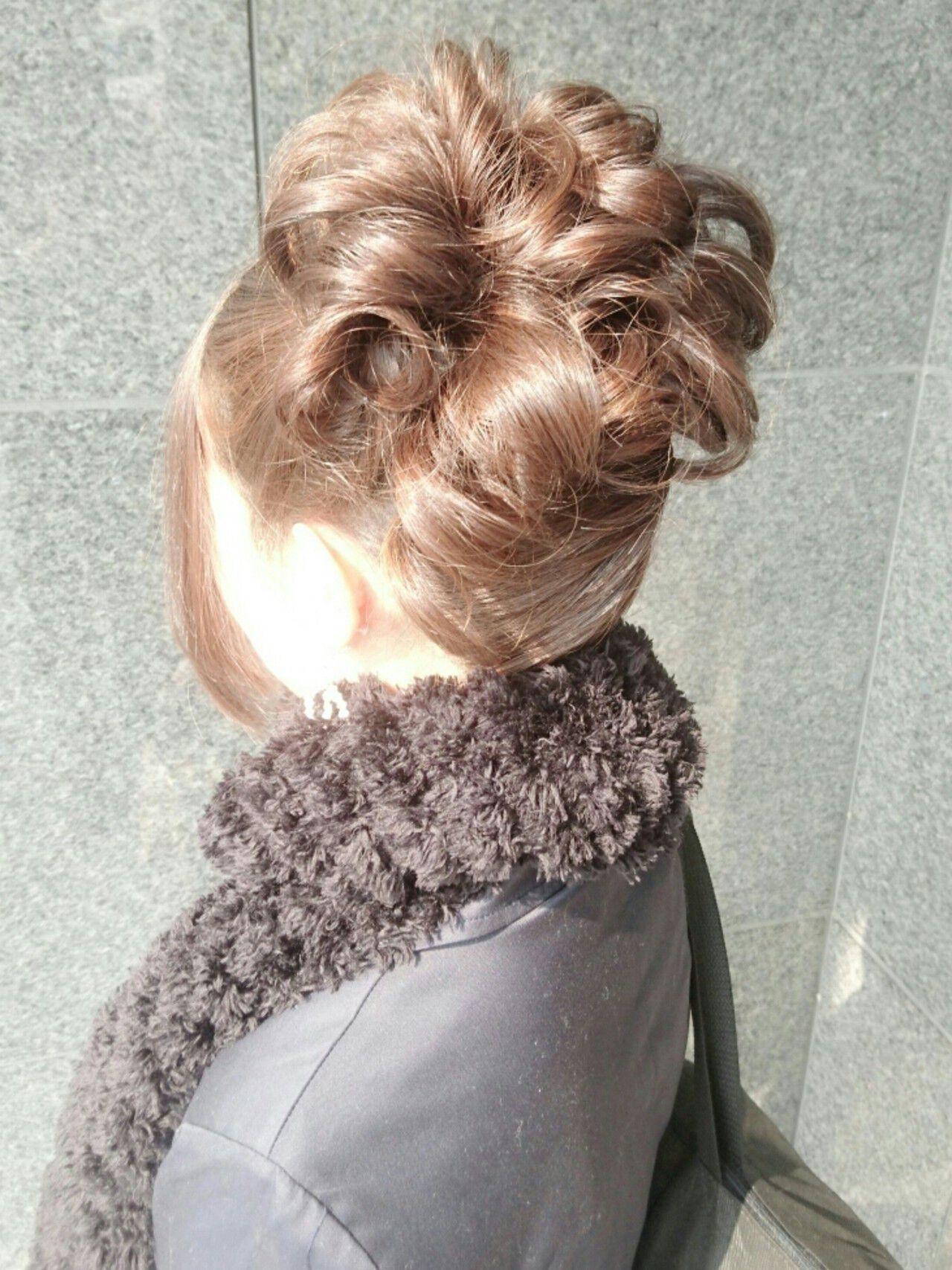 簡単ヘアアレンジ ミディアム ヘアアレンジ ゆるふわヘアスタイルや髪型の写真・画像