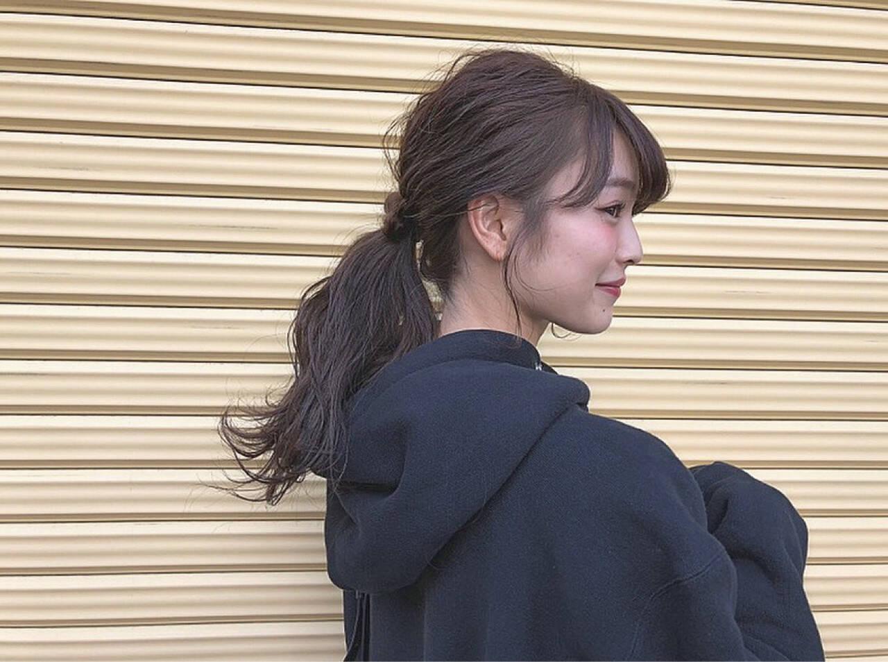 ナチュラル ショート セミロング ローポニーテールヘアスタイルや髪型の写真・画像