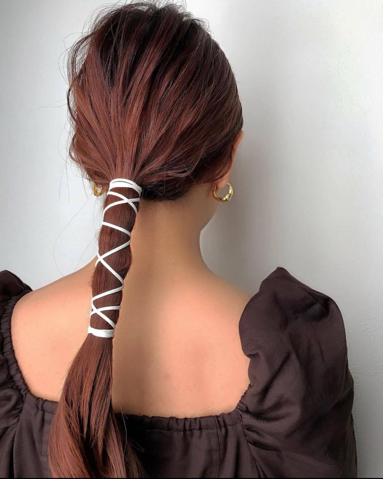 ロング ナチュラル 紐アレンジ ブライダルヘアスタイルや髪型の写真・画像