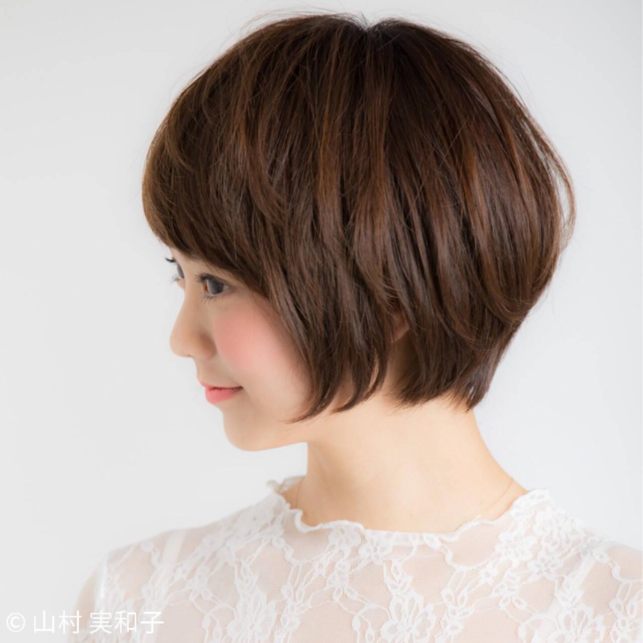 小顔 大人かわいい ナチュラル ショートボブヘアスタイルや髪型の写真・画像
