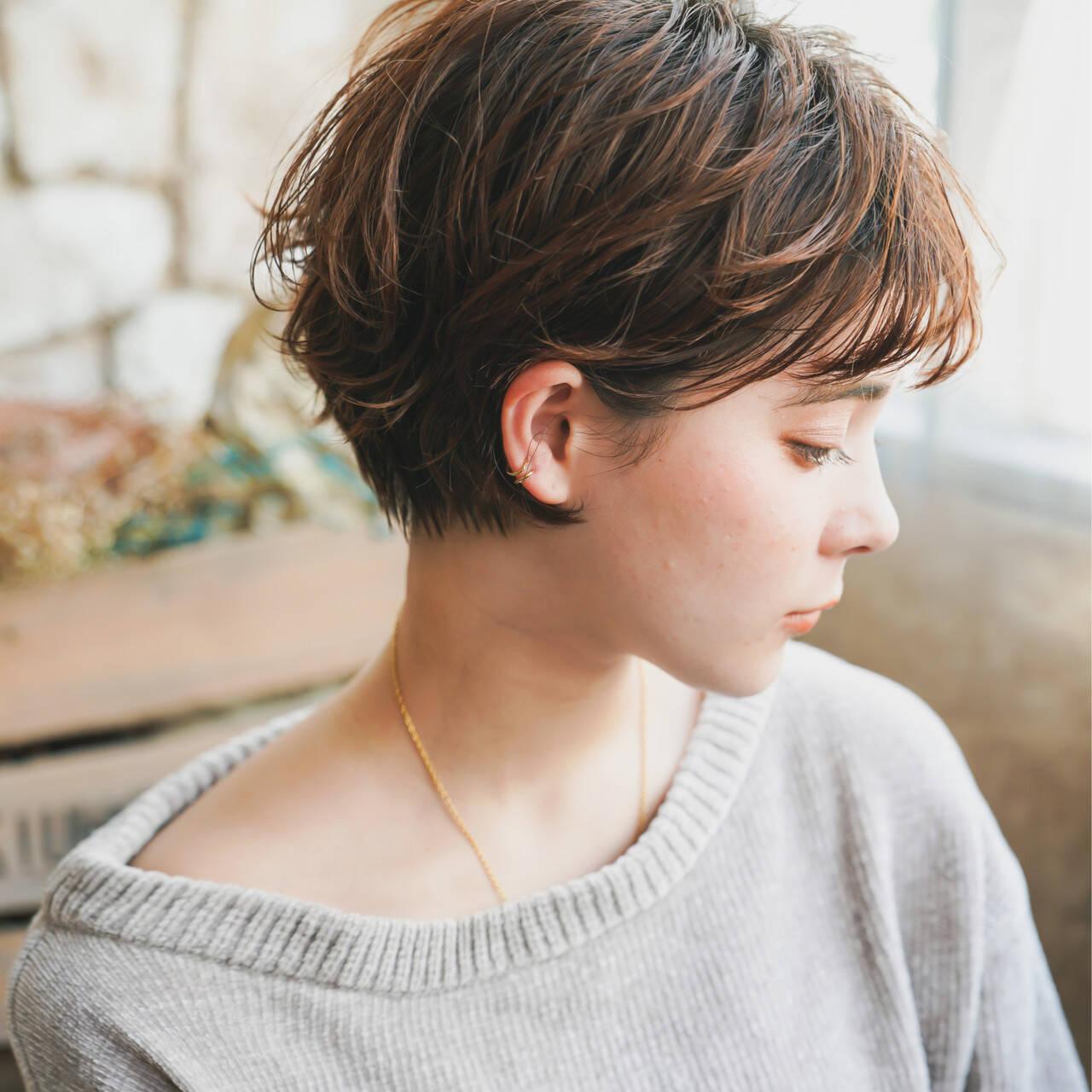 ショート ショートボブ ナチュラル ショートヘアヘアスタイルや髪型の写真・画像