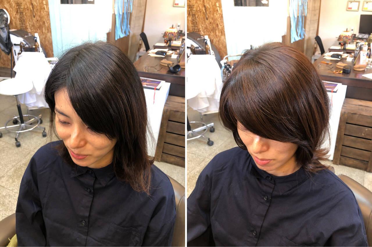 ツヤツヤ ナチュラル ミディアム 美髪ヘアスタイルや髪型の写真・画像