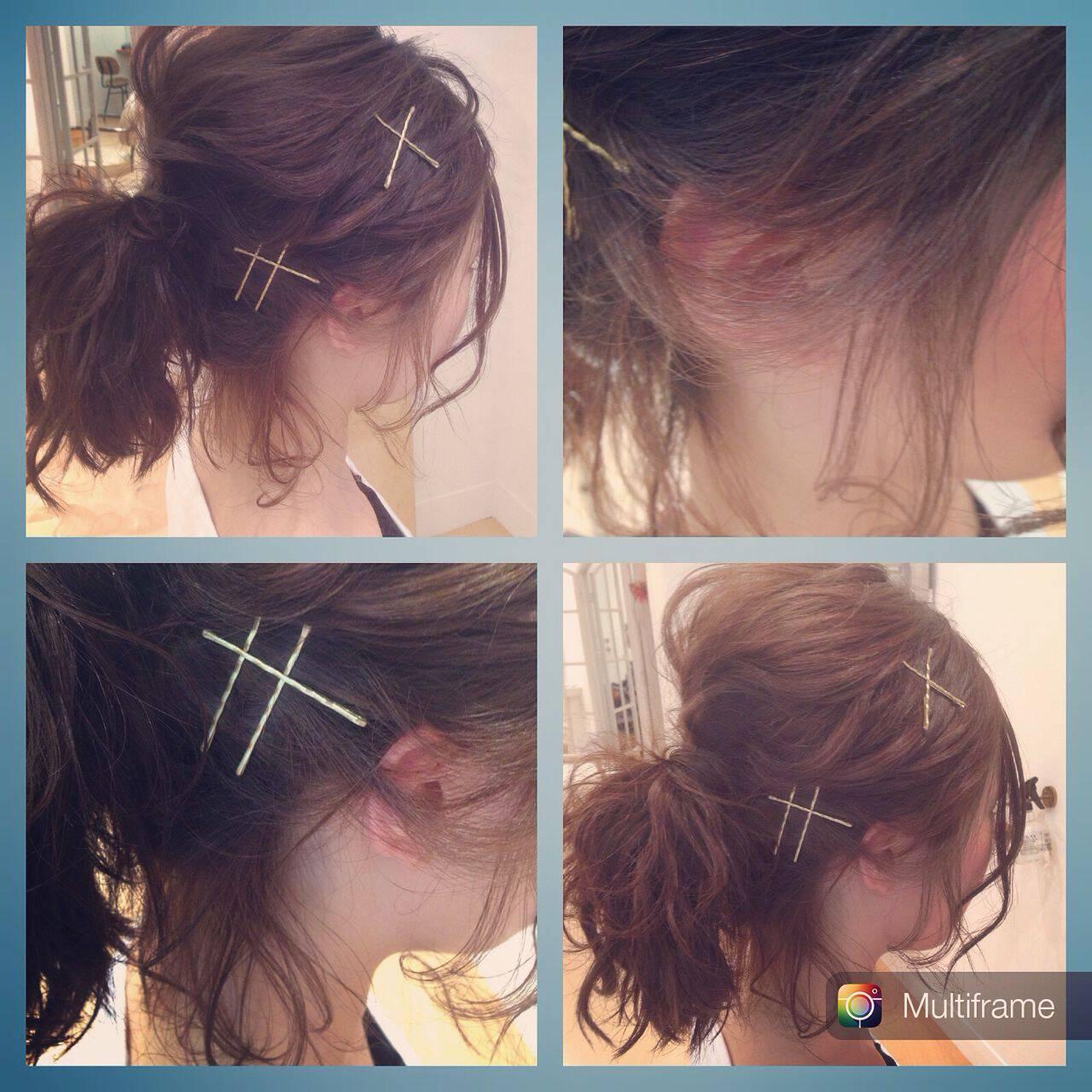 ヘアアクセ ヘアアレンジ ヘアピン ポニーテールヘアスタイルや髪型の写真・画像