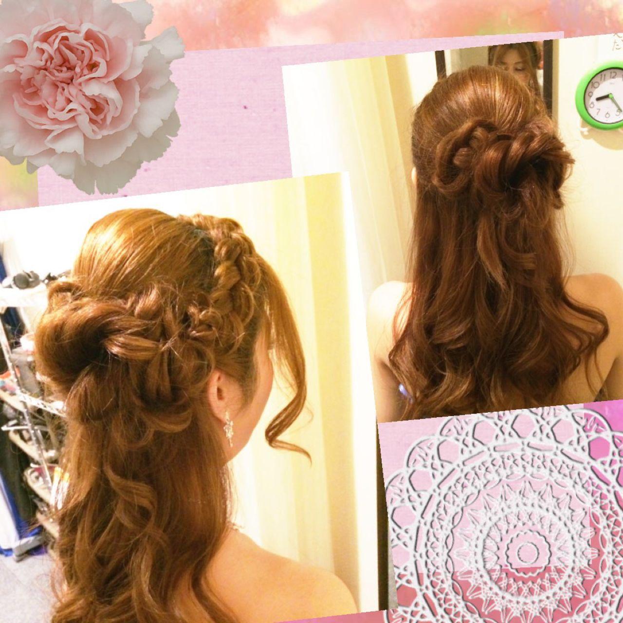 コンサバ ハーフアップ ゆるふわ ヘアアレンジヘアスタイルや髪型の写真・画像