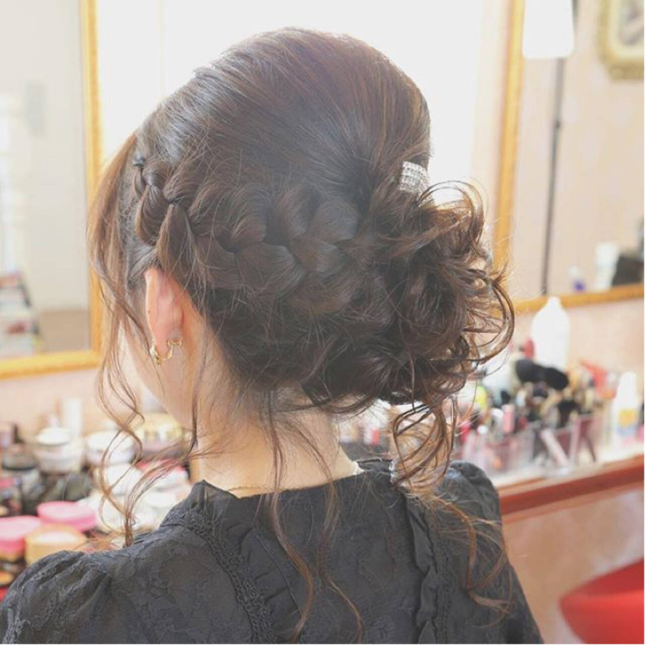 セミロング 結婚式 ナチュラル アップスタイルヘアスタイルや髪型の写真・画像