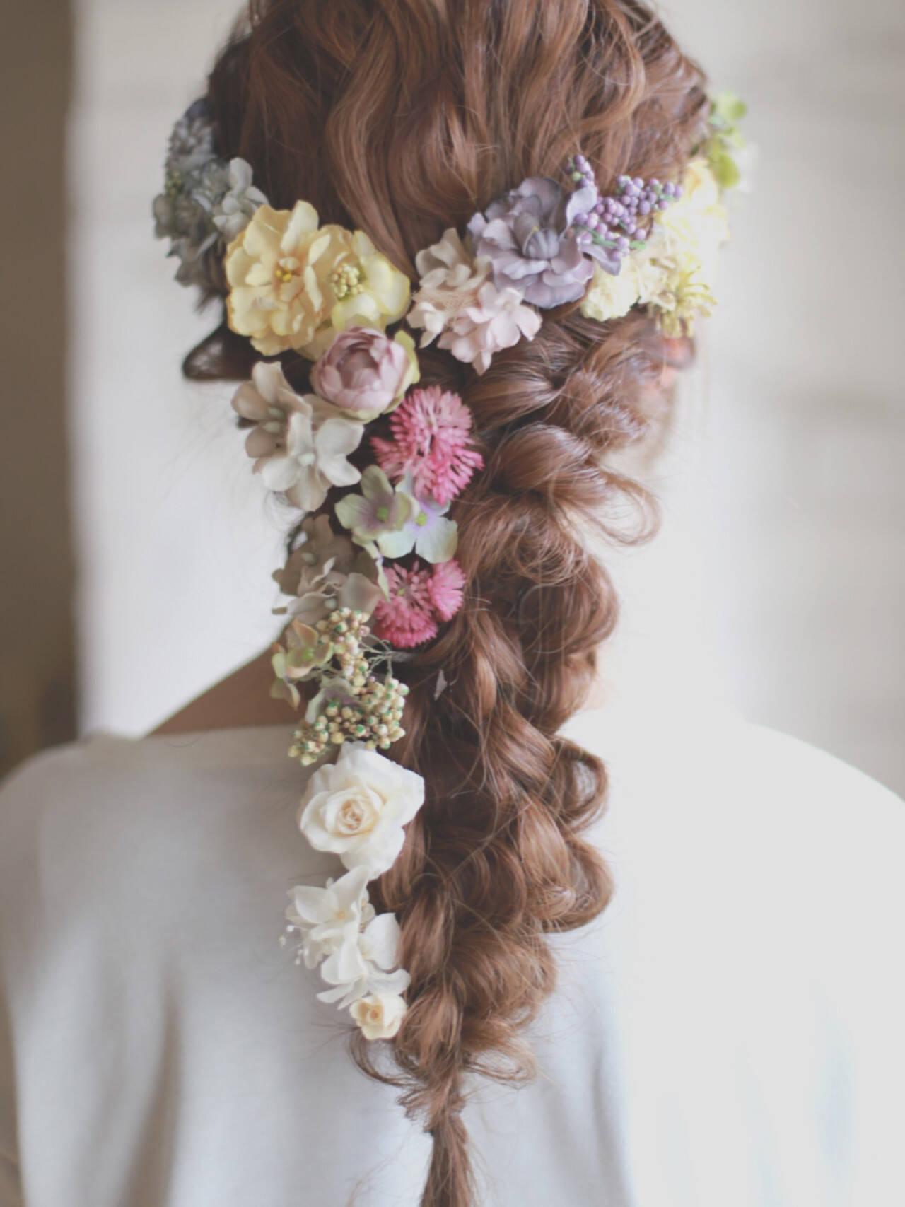 ヘアアレンジ セミロング フェミニン 成人式ヘアスタイルや髪型の写真・画像