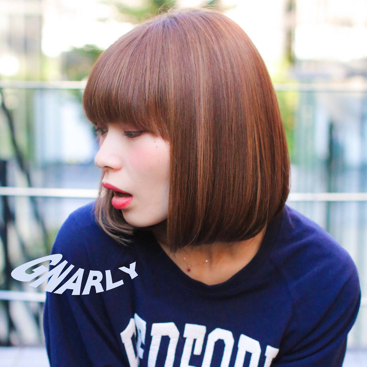 外国人風 ハイライト ボブ ストレートヘアスタイルや髪型の写真・画像