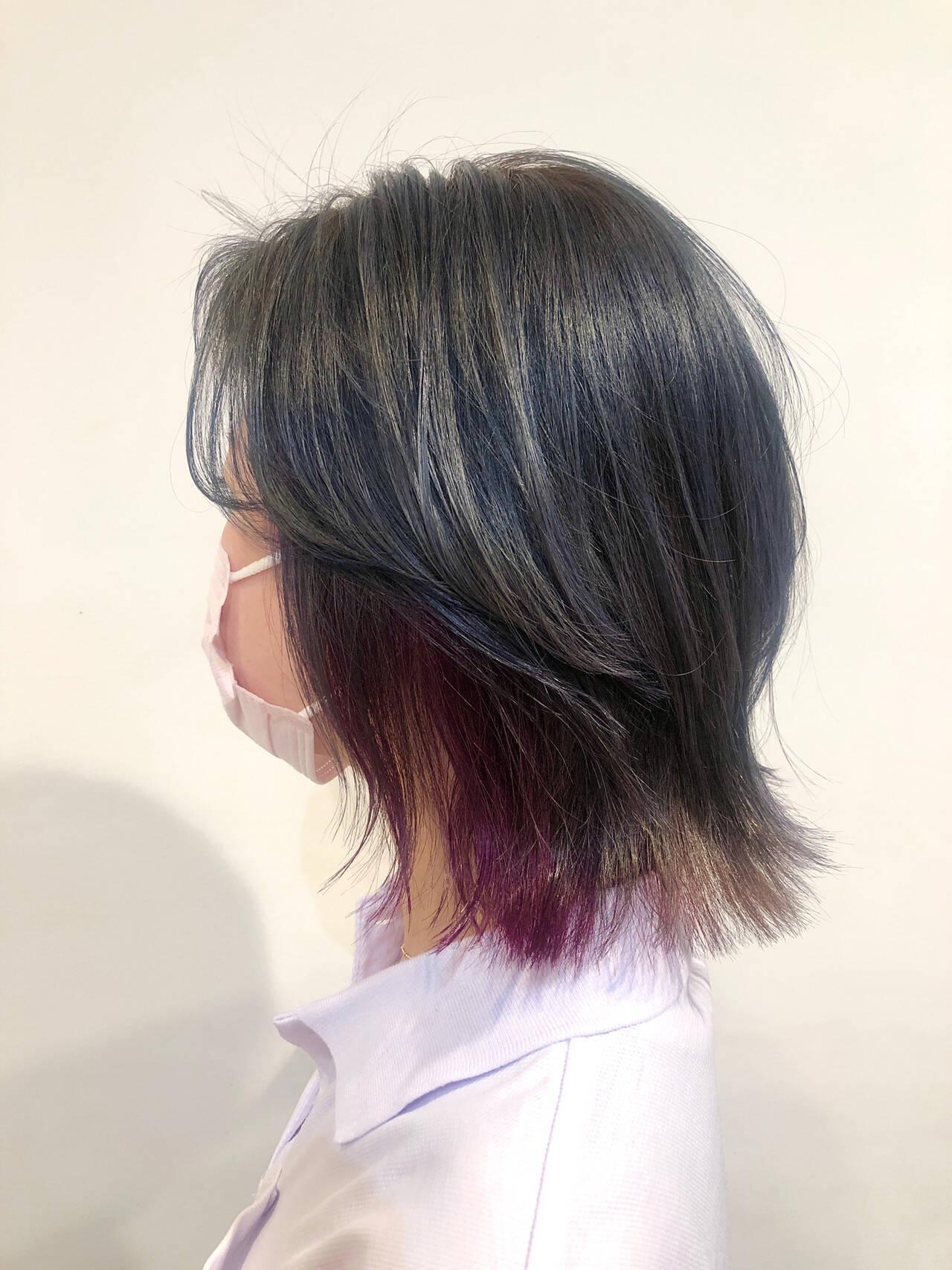 ショートヘア ウルフカット レイヤーカット インナーカラーヘアスタイルや髪型の写真・画像