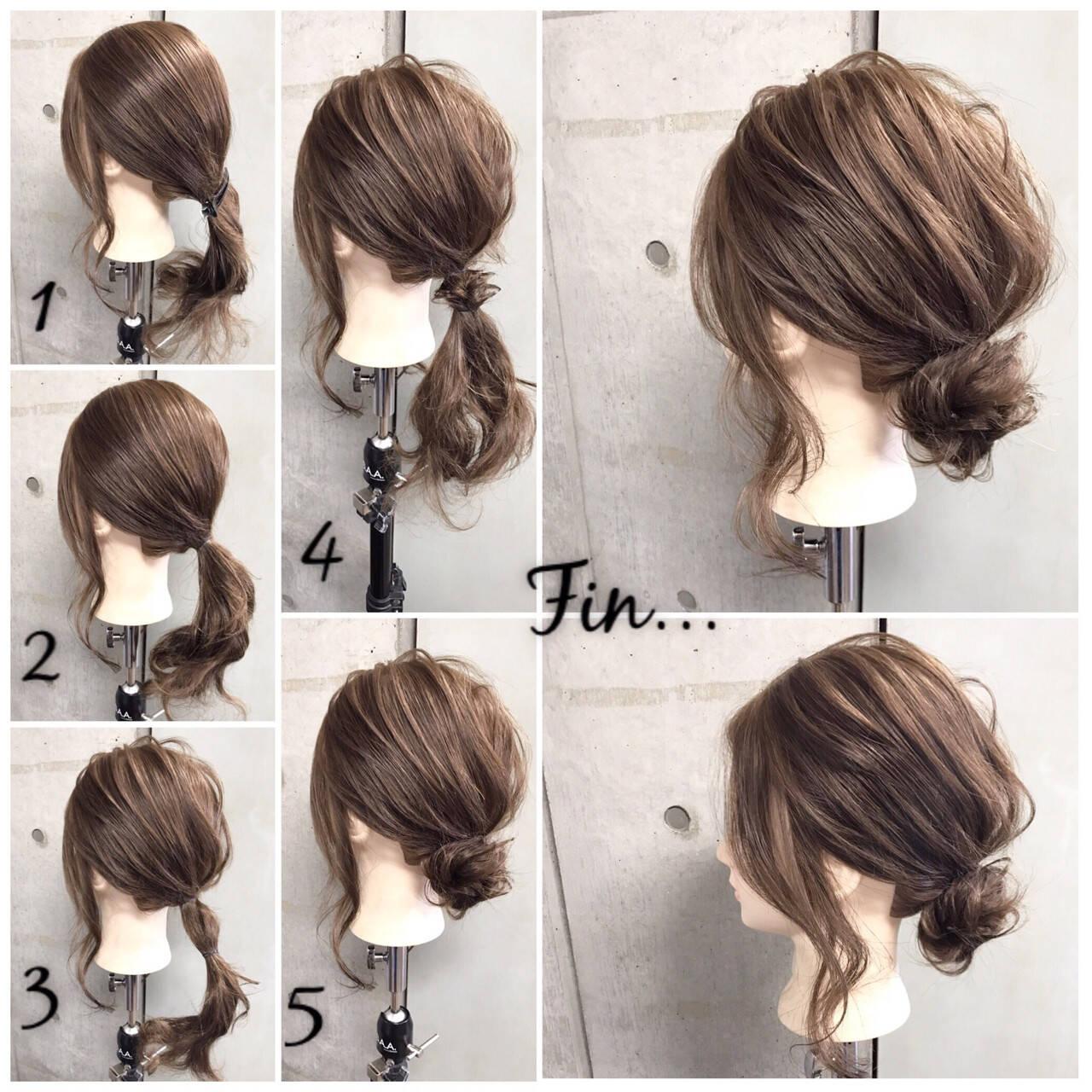 女子会 ヘアアレンジ セミロング オフィスヘアスタイルや髪型の写真・画像