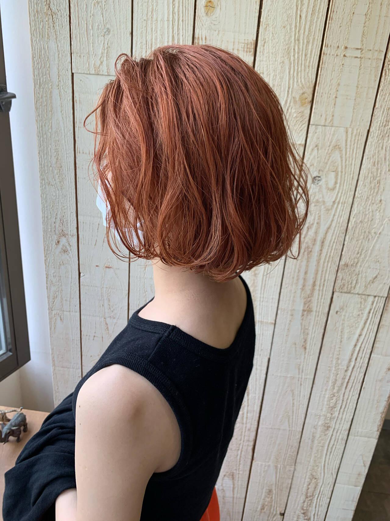 ボブ ショートヘア オレンジカラー オレンジベージュヘアスタイルや髪型の写真・画像