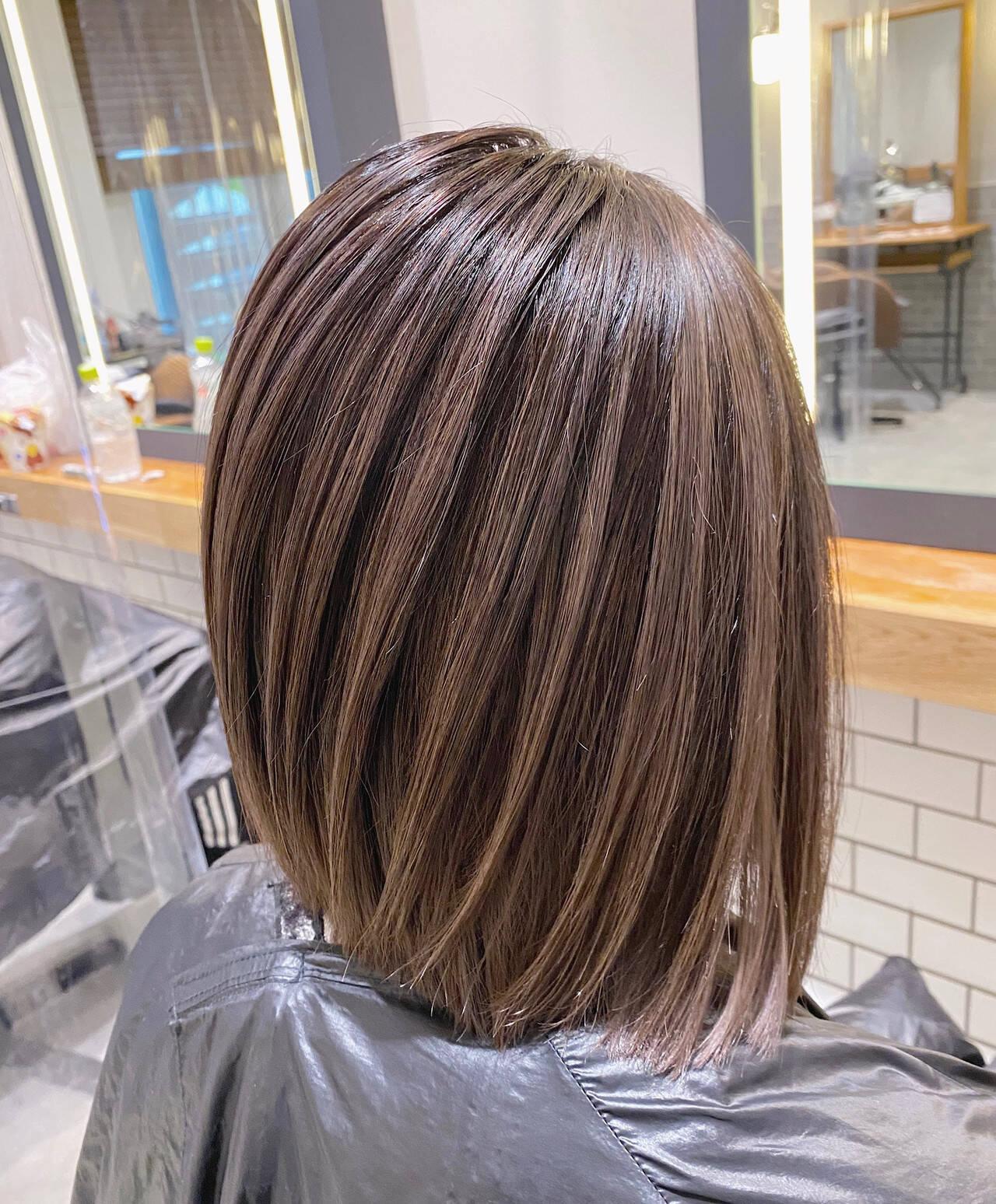 コントラストハイライト ボブ ブリーチ ブリーチカラーヘアスタイルや髪型の写真・画像