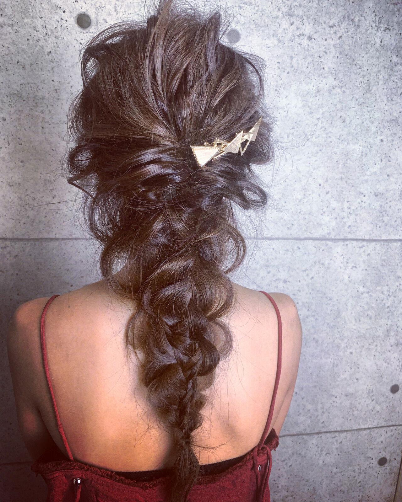 デート 簡単ヘアアレンジ ロング 結婚式ヘアスタイルや髪型の写真・画像