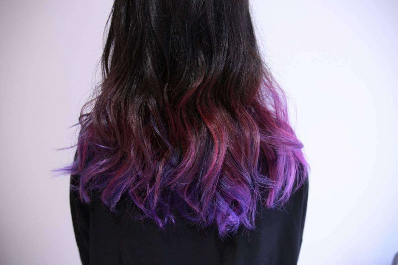 カラーバター ストリート グラデーションカラー ロングヘアスタイルや髪型の写真・画像