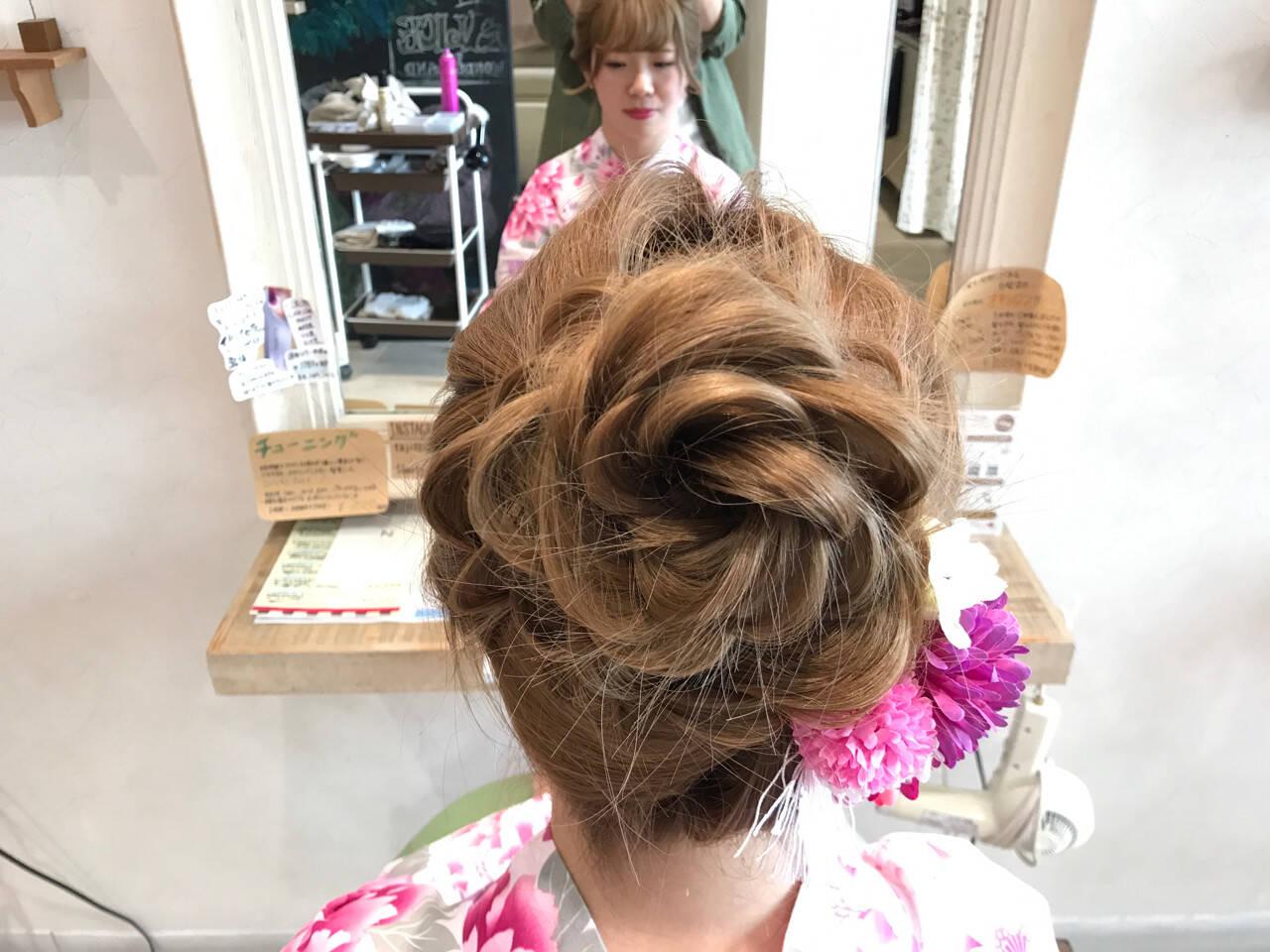 和装 アップスタイル 夏 ミディアムヘアスタイルや髪型の写真・画像
