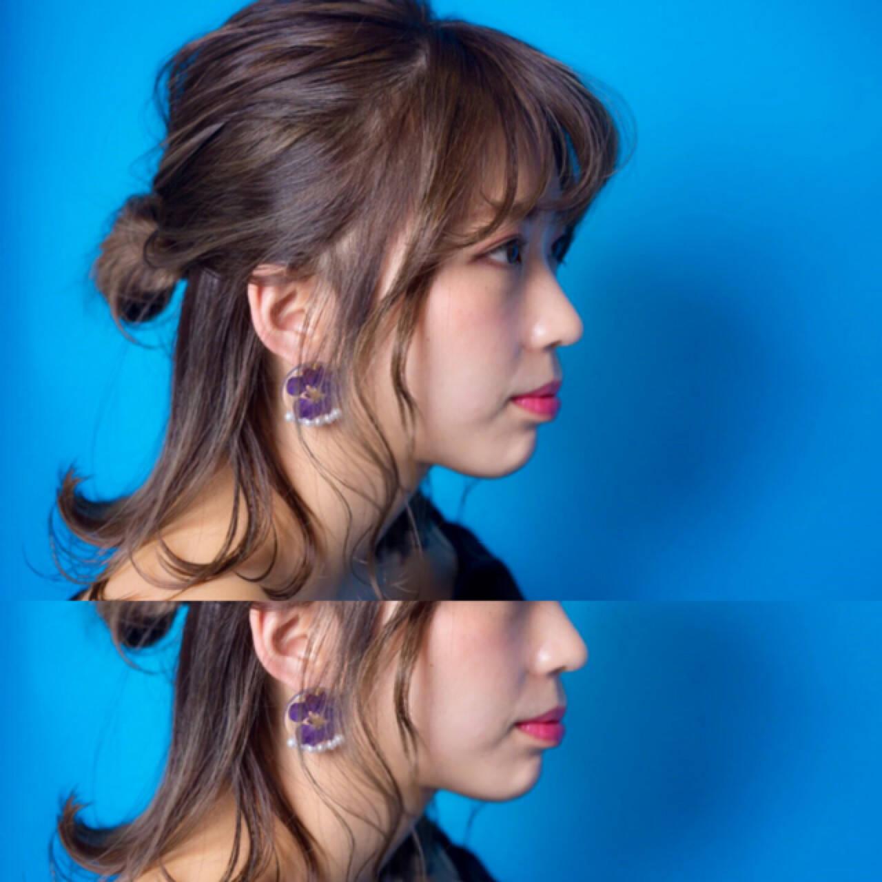 フェミニン 簡単ヘアアレンジ ボブ ヘアアレンジヘアスタイルや髪型の写真・画像