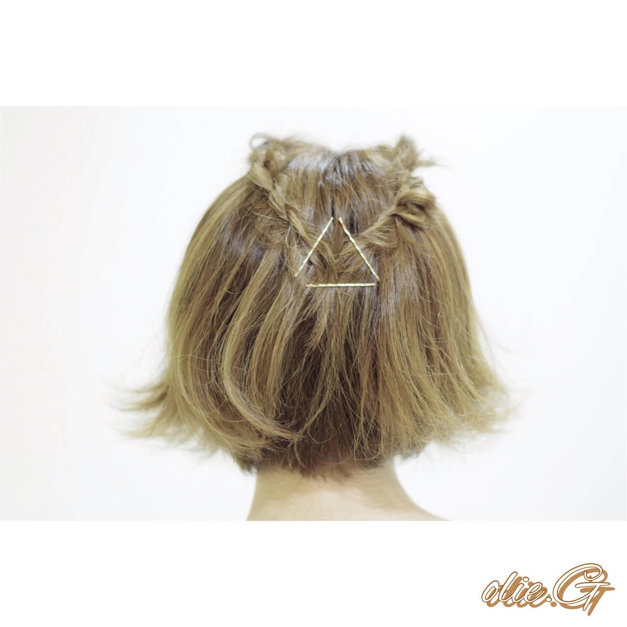 ヘアアレンジ 二次会 簡単ヘアアレンジ ショートヘアスタイルや髪型の写真・画像