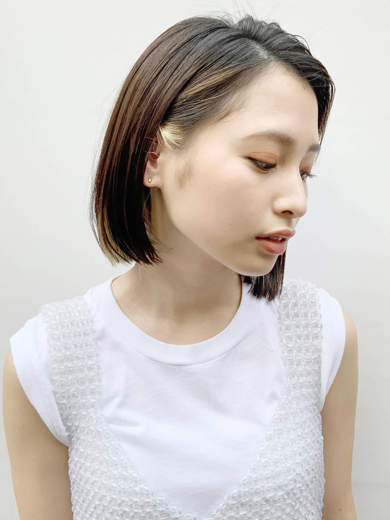 白髪染め インナーカラー ヘアカラー ナチュラルヘアスタイルや髪型の写真・画像