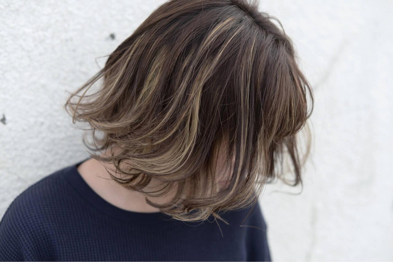 ストリート ハイライト ミディアム ゆるふわヘアスタイルや髪型の写真・画像