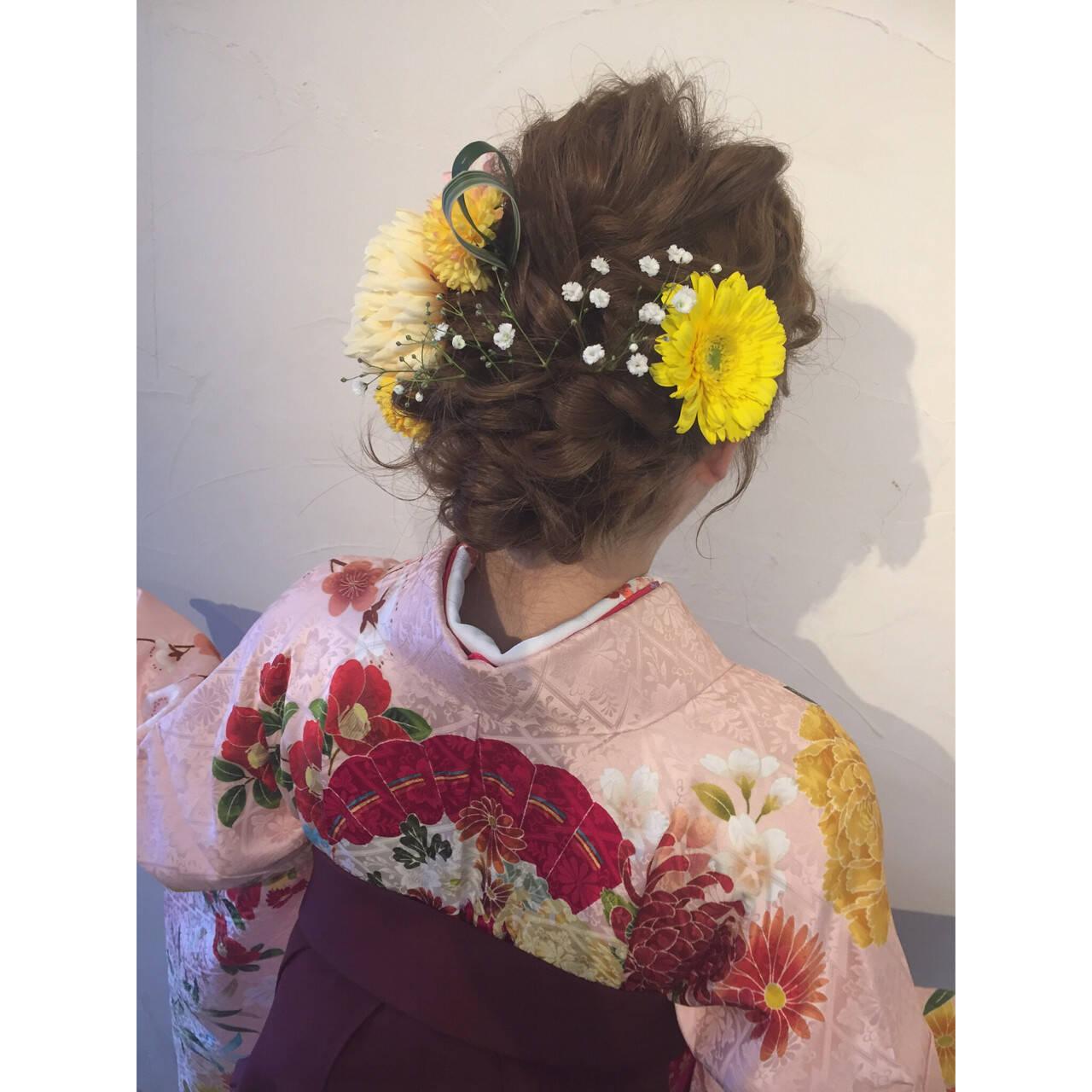 ヘアアレンジ ロング 謝恩会 花ヘアスタイルや髪型の写真・画像