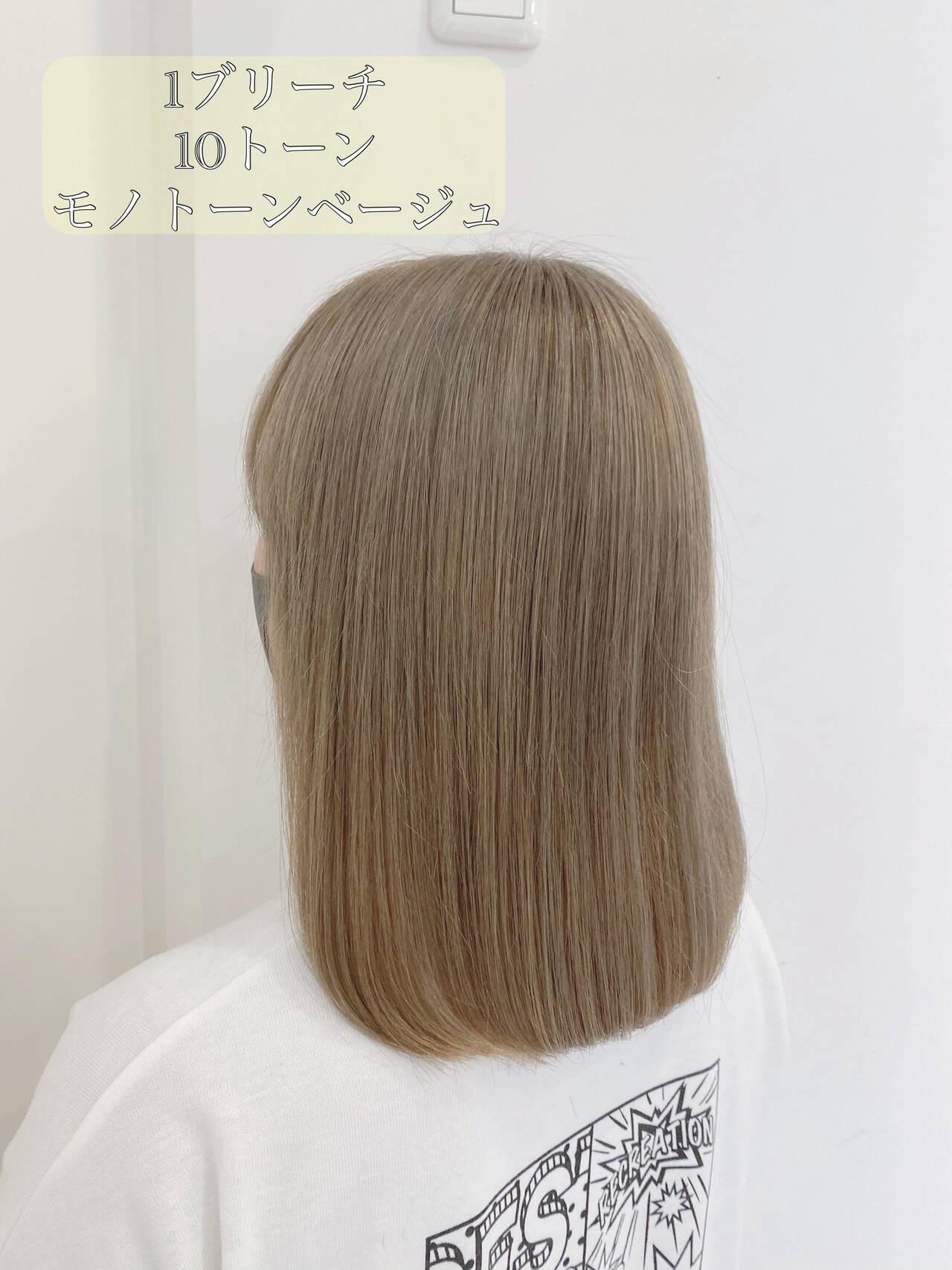透明感カラー シルバーグレージュ ミルクティーベージュ ベージュヘアスタイルや髪型の写真・画像