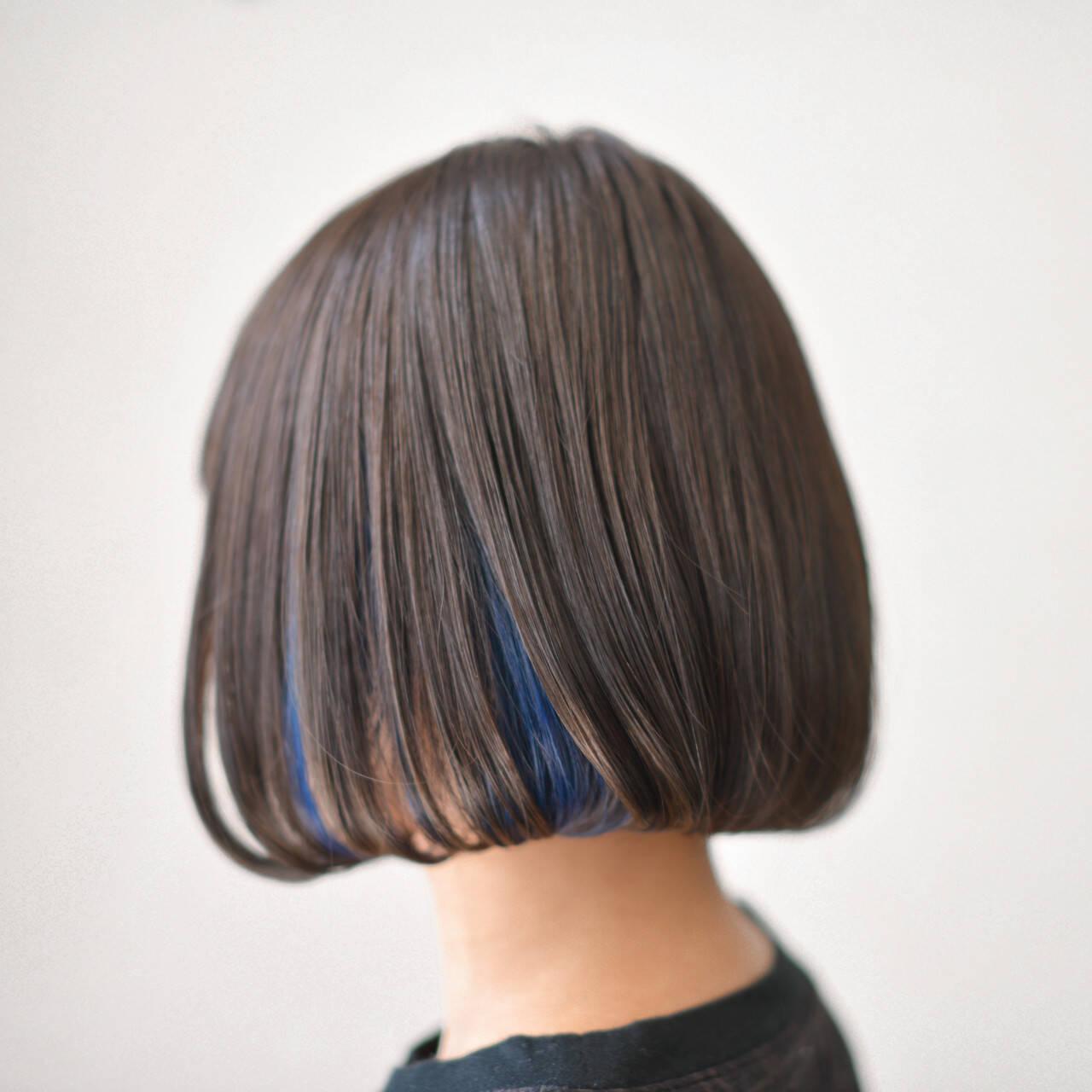 ボブ インナーカラー 外国人風 アッシュヘアスタイルや髪型の写真・画像