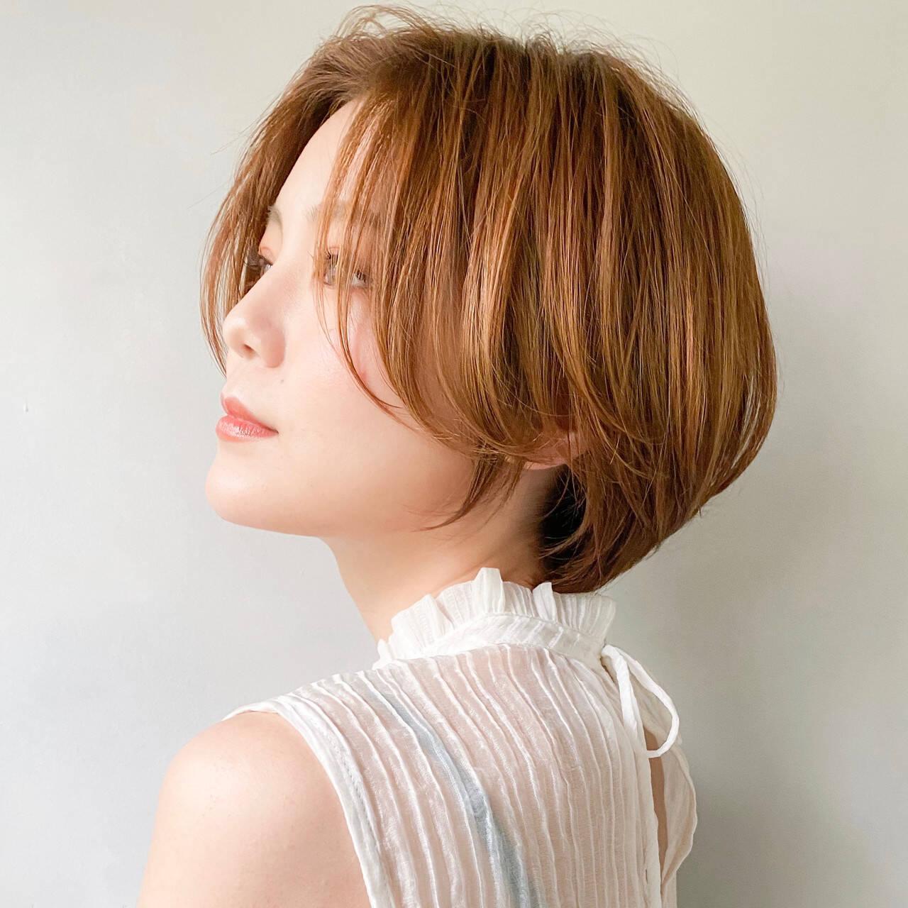 ショートボブ ボブ インナーカラー ミニボブヘアスタイルや髪型の写真・画像