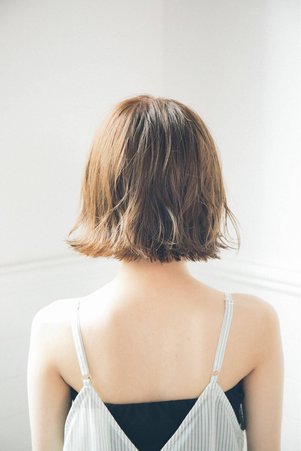 外ハネ 色気 透明感 ボブヘアスタイルや髪型の写真・画像