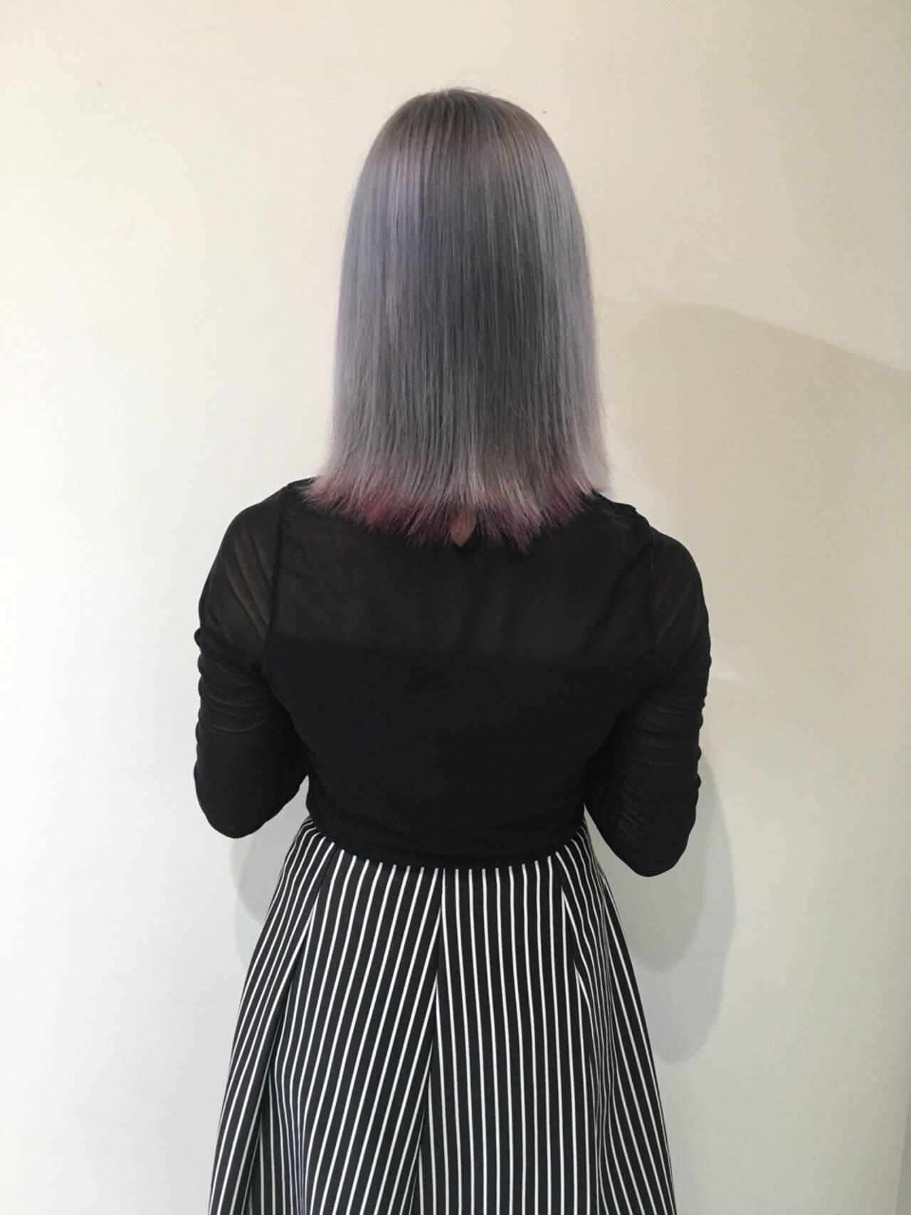 外国人風 暗髪 グラデーションカラー アッシュヘアスタイルや髪型の写真・画像