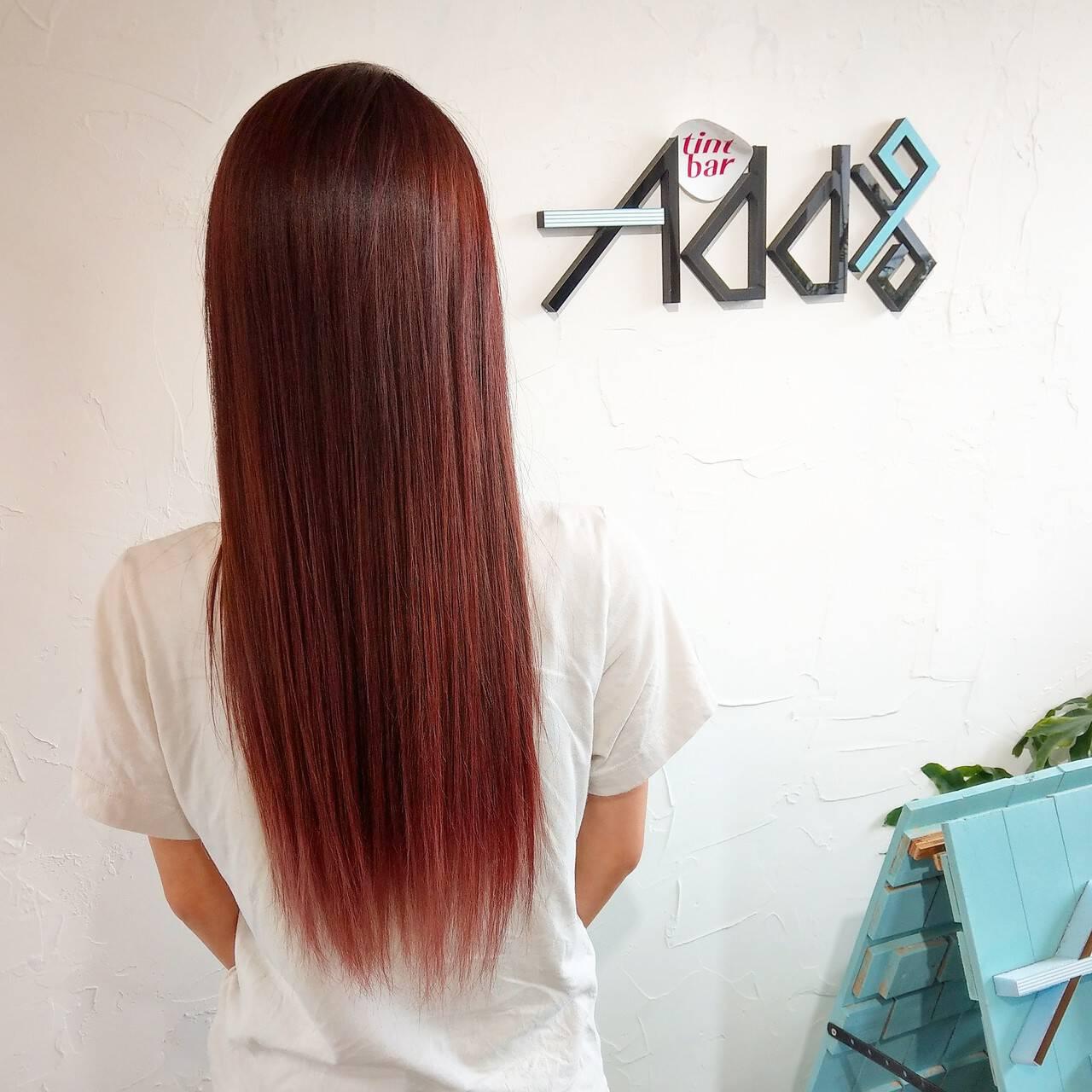 韓国風ヘアー ロング 裾カラーオレンジ ブリーチオンカラーヘアスタイルや髪型の写真・画像