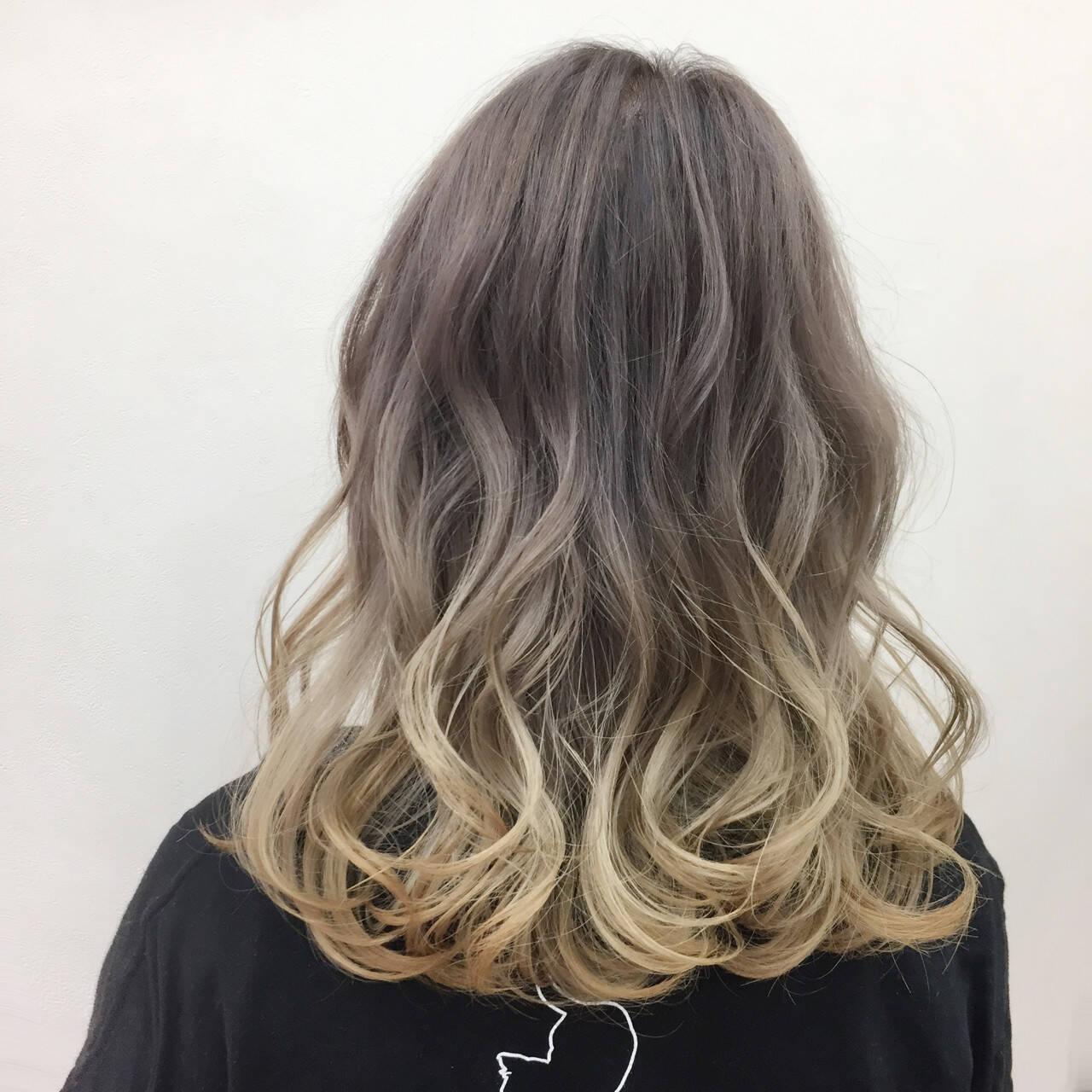モード グラデーションカラー ハイトーン ミディアムヘアスタイルや髪型の写真・画像