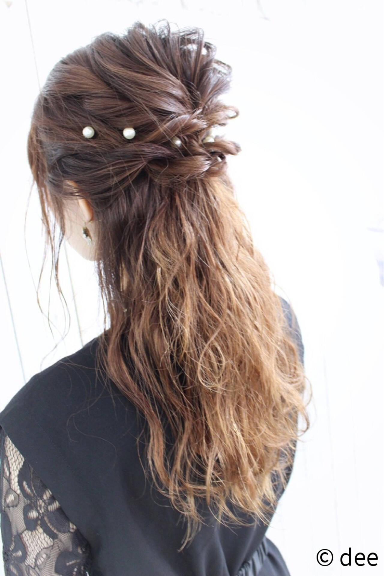 ヘアピン ハーフアップ ヘアアレンジ 結婚式ヘアスタイルや髪型の写真・画像
