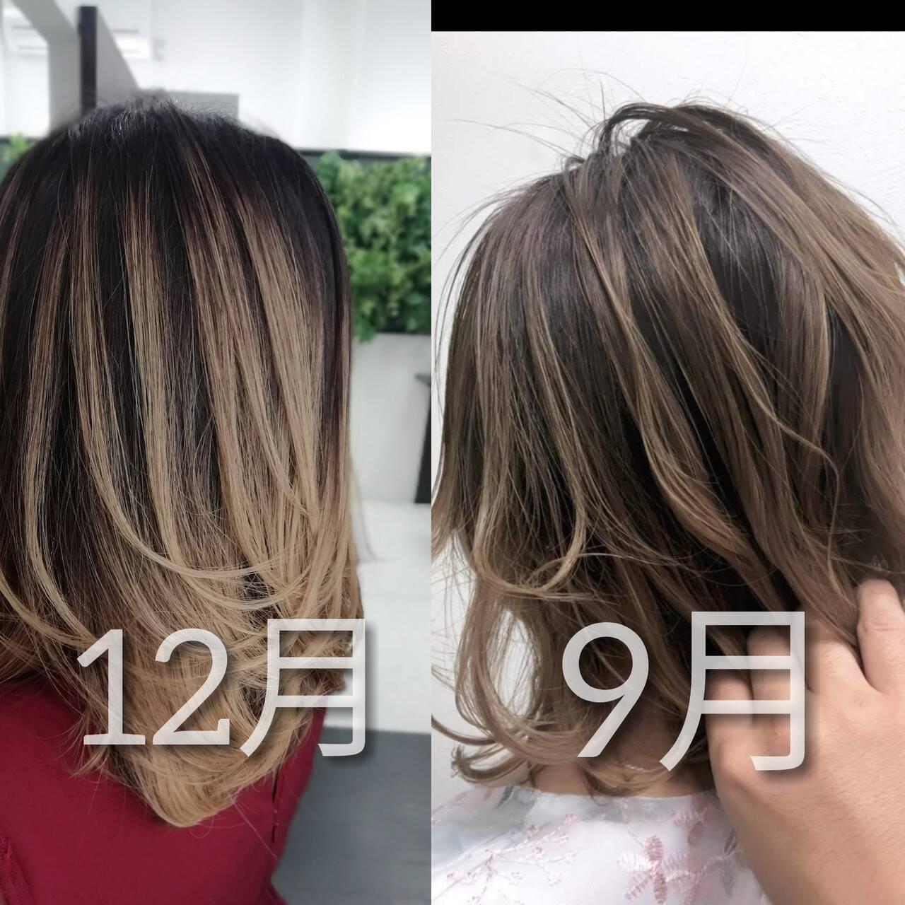 インナーカラー ナチュラル バックコーミング 外国人風カラーヘアスタイルや髪型の写真・画像