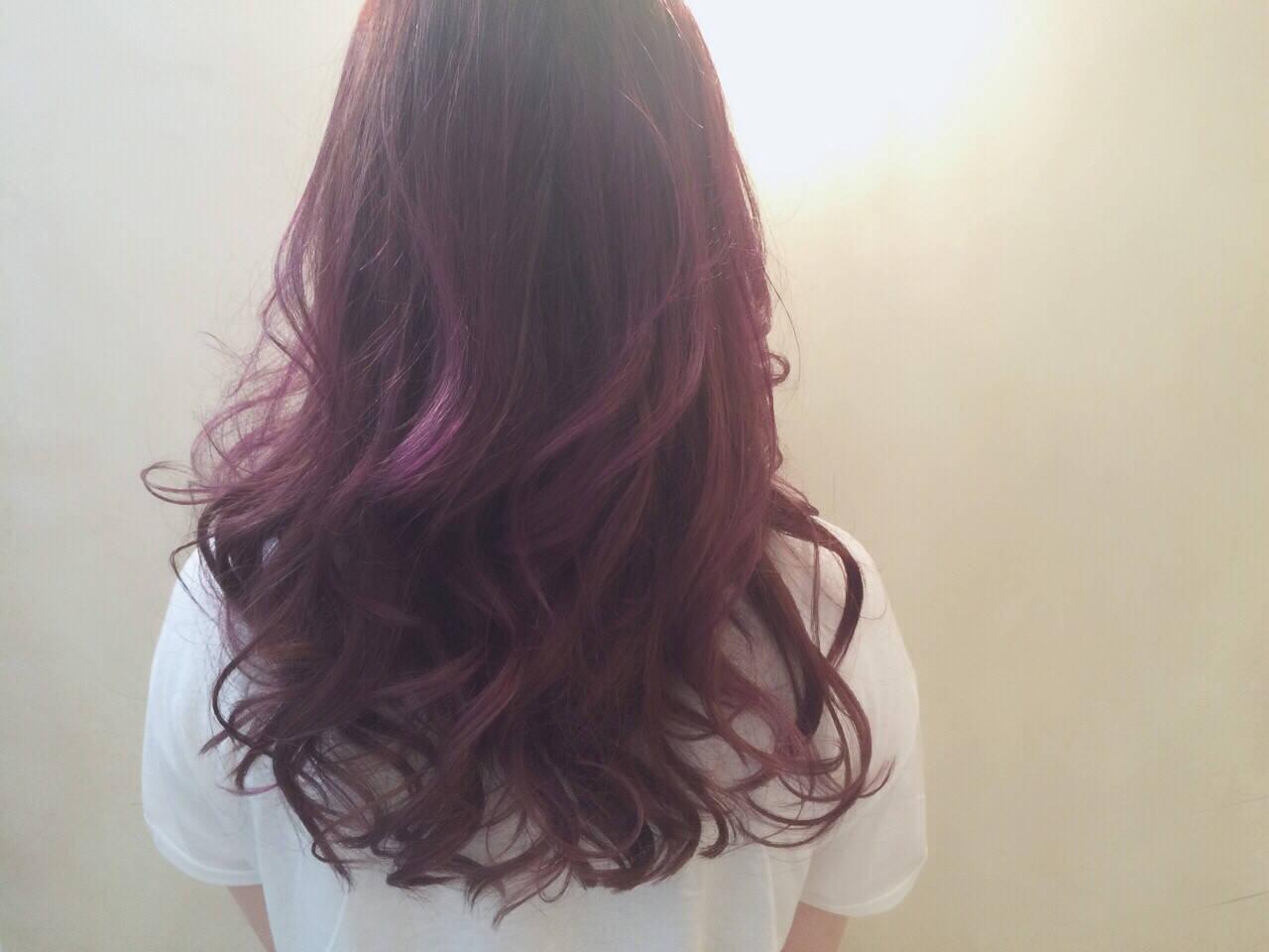 暗髪 ストリート フェミニン パープルヘアスタイルや髪型の写真・画像