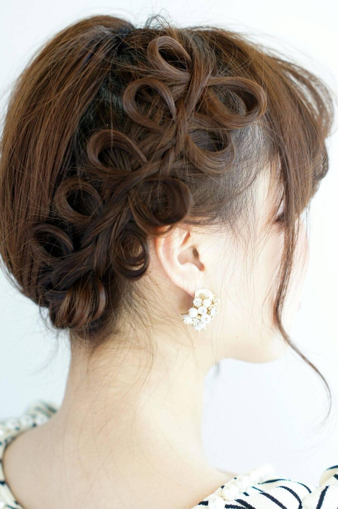 パーティ ナチュラル 編み込み ヘアアレンジヘアスタイルや髪型の写真・画像