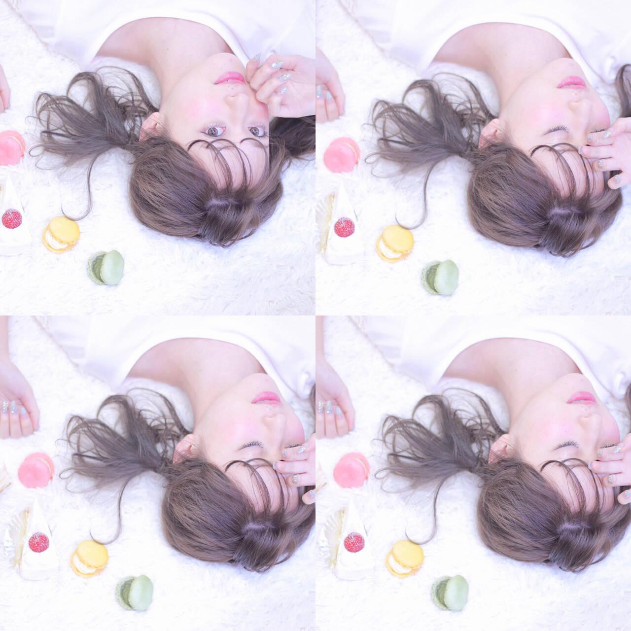 ミルクティー ガーリー ミディアム ヘアアレンジヘアスタイルや髪型の写真・画像