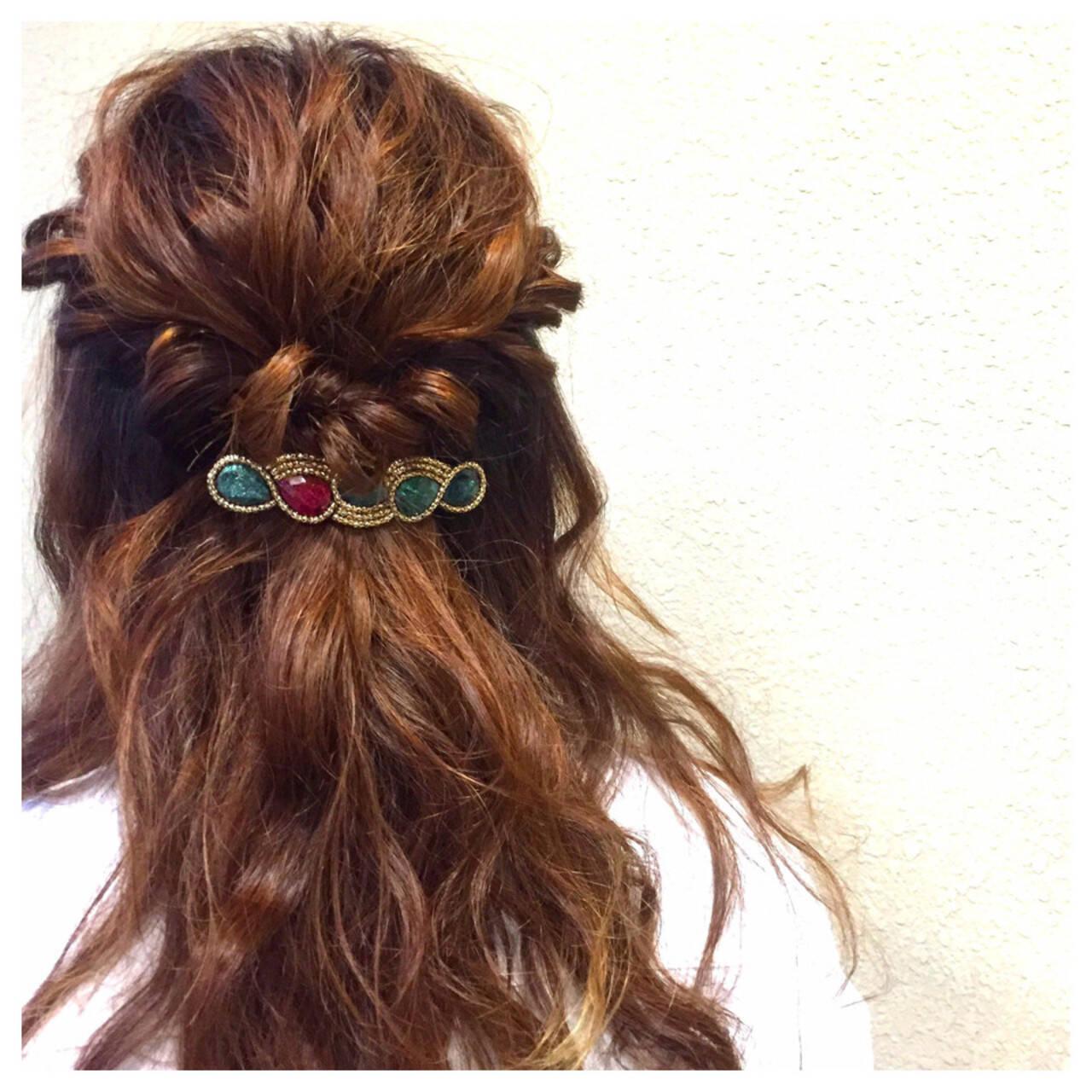 フェミニン ゆるふわ セミロング クリスマスヘアスタイルや髪型の写真・画像