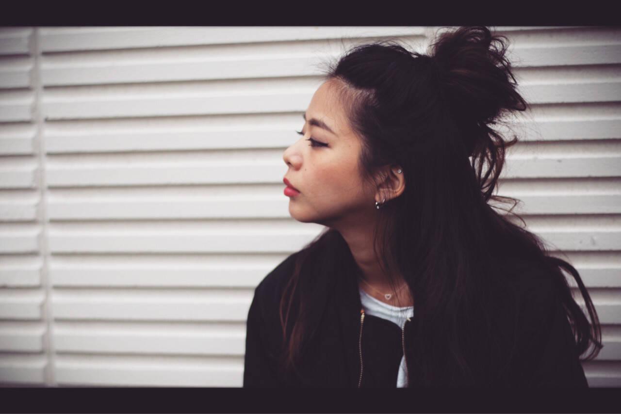 ハーフアップ お団子 ヘアアレンジ ロングヘアスタイルや髪型の写真・画像