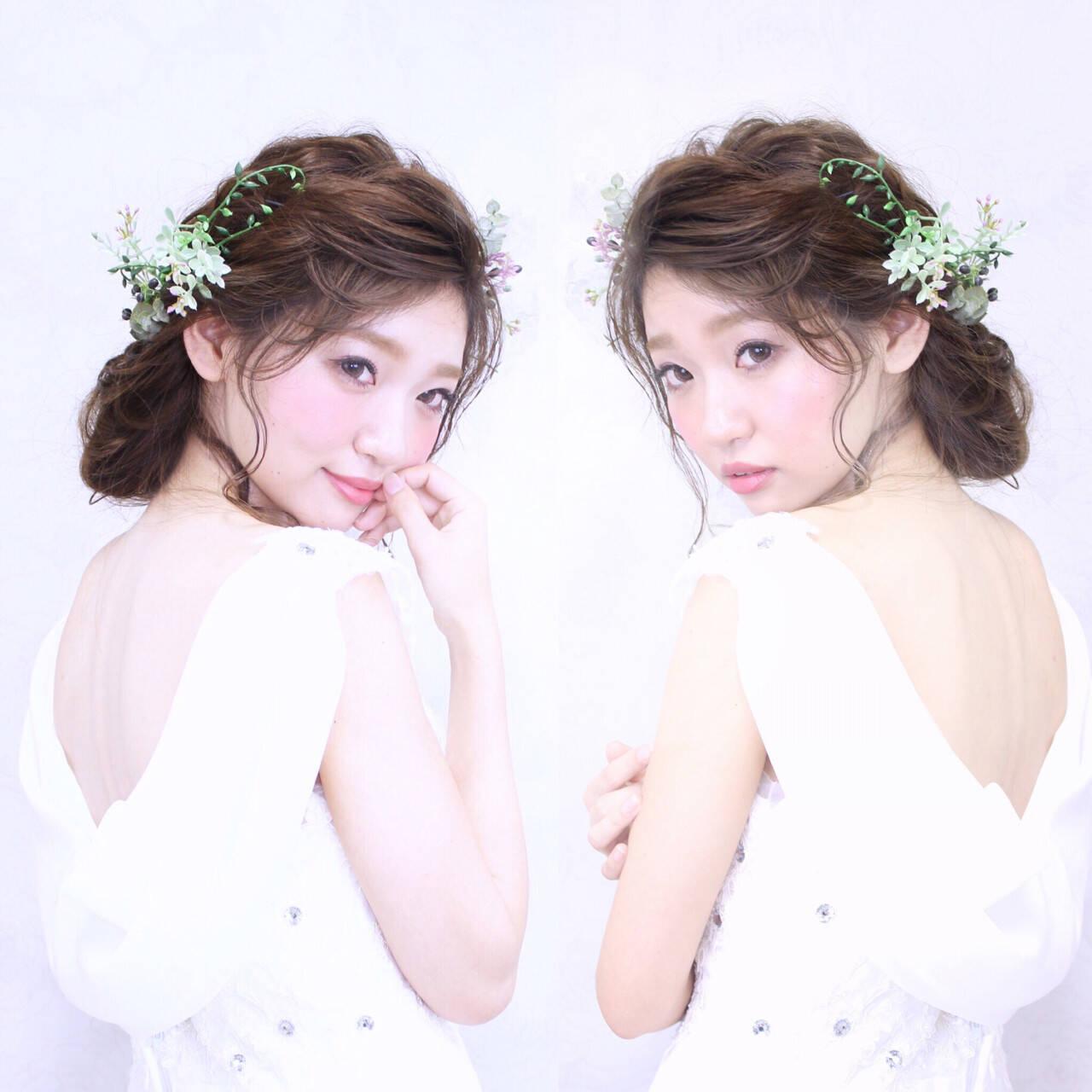 結婚式 セミロング ヘアアレンジ ブライダルヘアスタイルや髪型の写真・画像