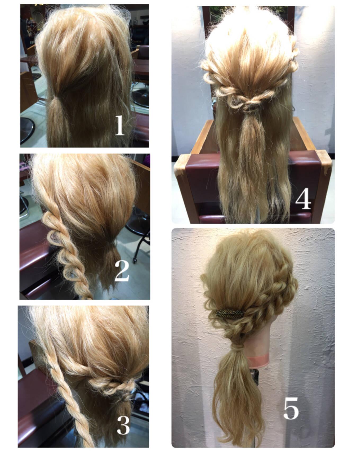 セミロング ハーフアップ 簡単ヘアアレンジ ショートヘアスタイルや髪型の写真・画像