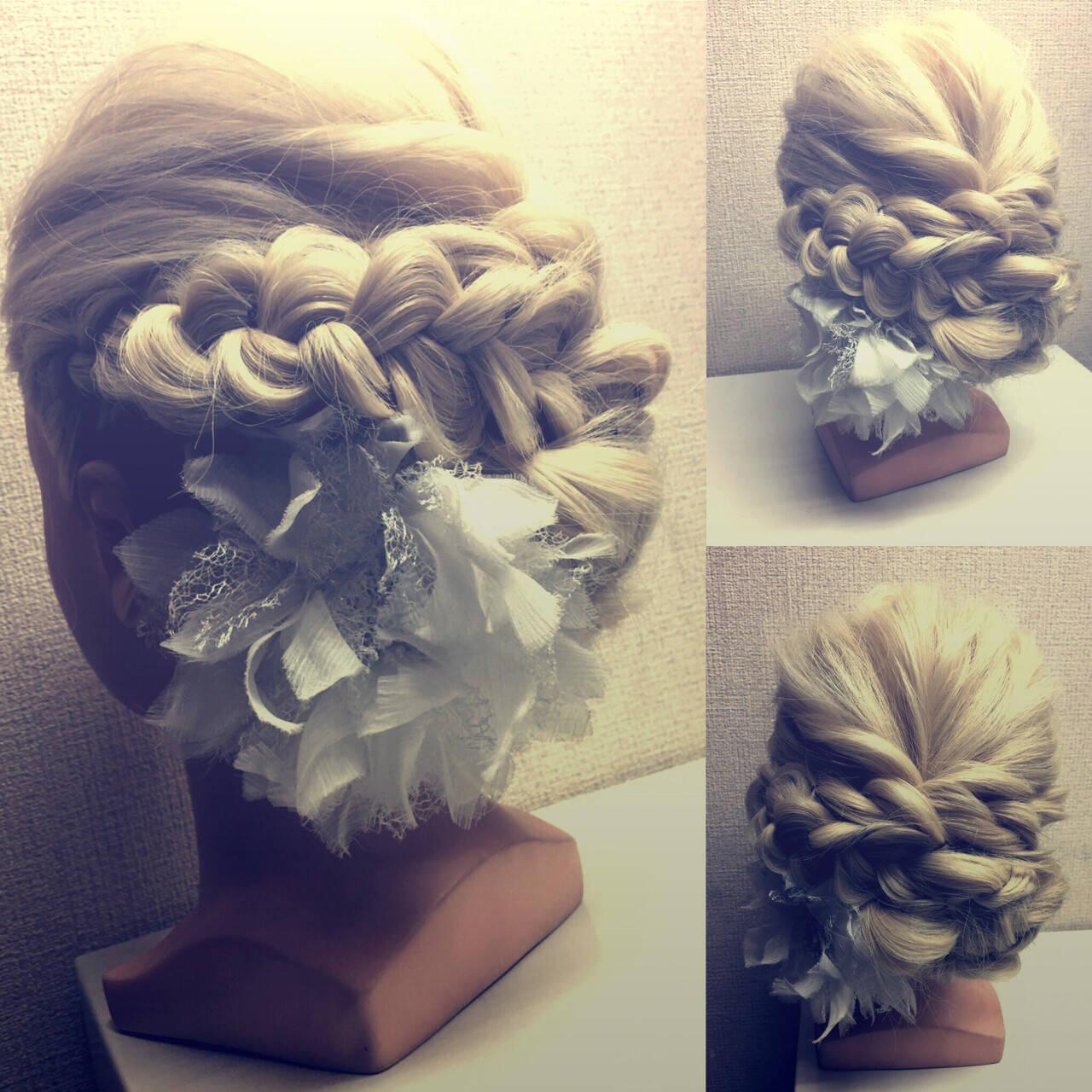 簡単ヘアアレンジ 結婚式 編み込み ヘアアレンジヘアスタイルや髪型の写真・画像