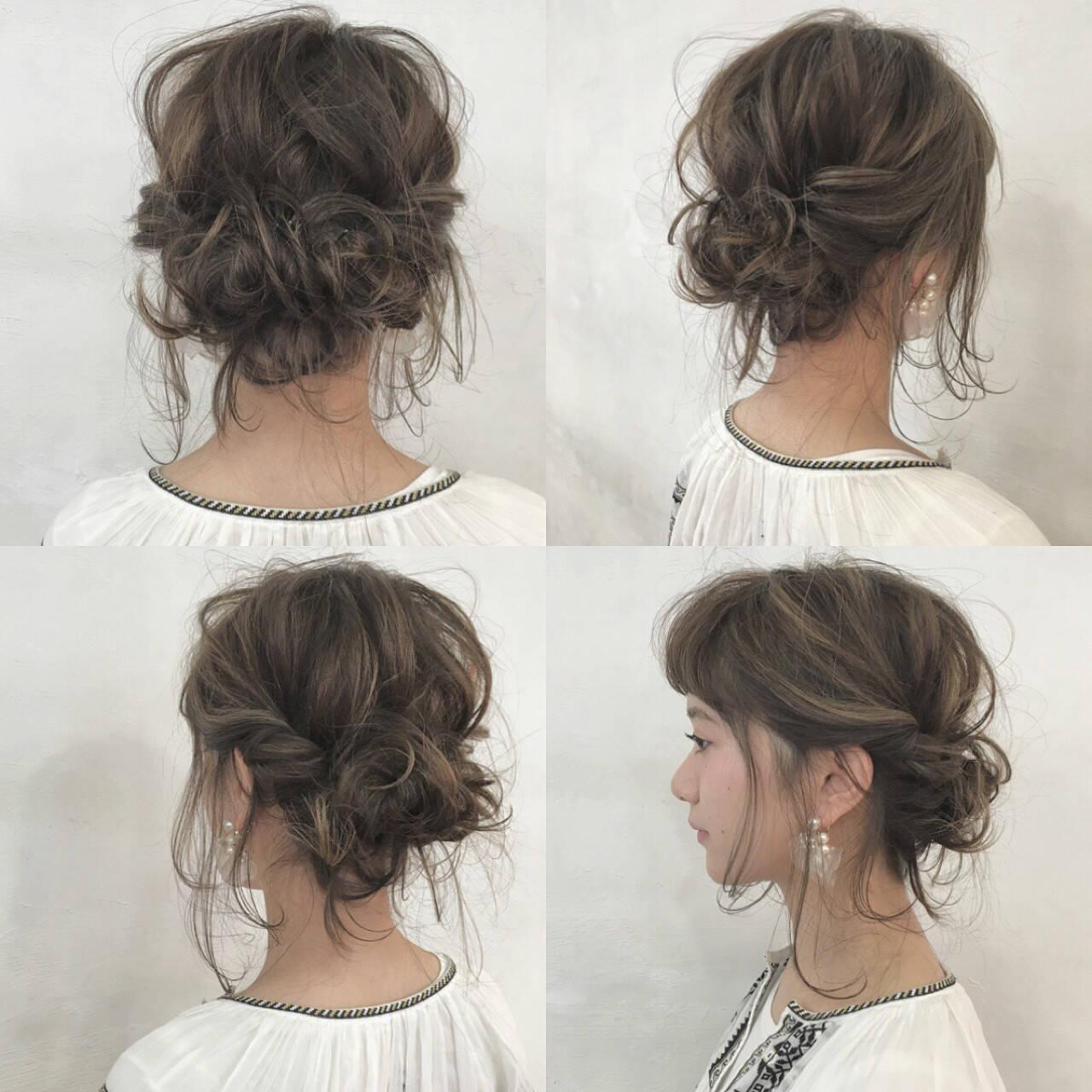 ヘアアレンジ 編み込み インナーカラー ショートヘアスタイルや髪型の写真・画像