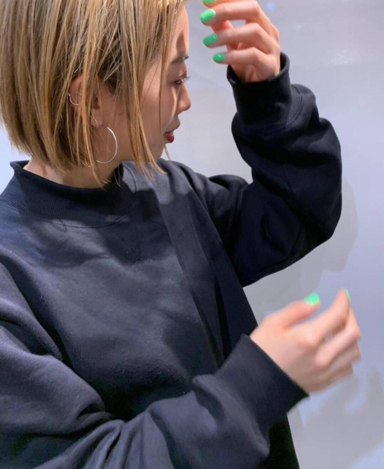 ブロンドカラー ストリート ハイライト ミニボブヘアスタイルや髪型の写真・画像