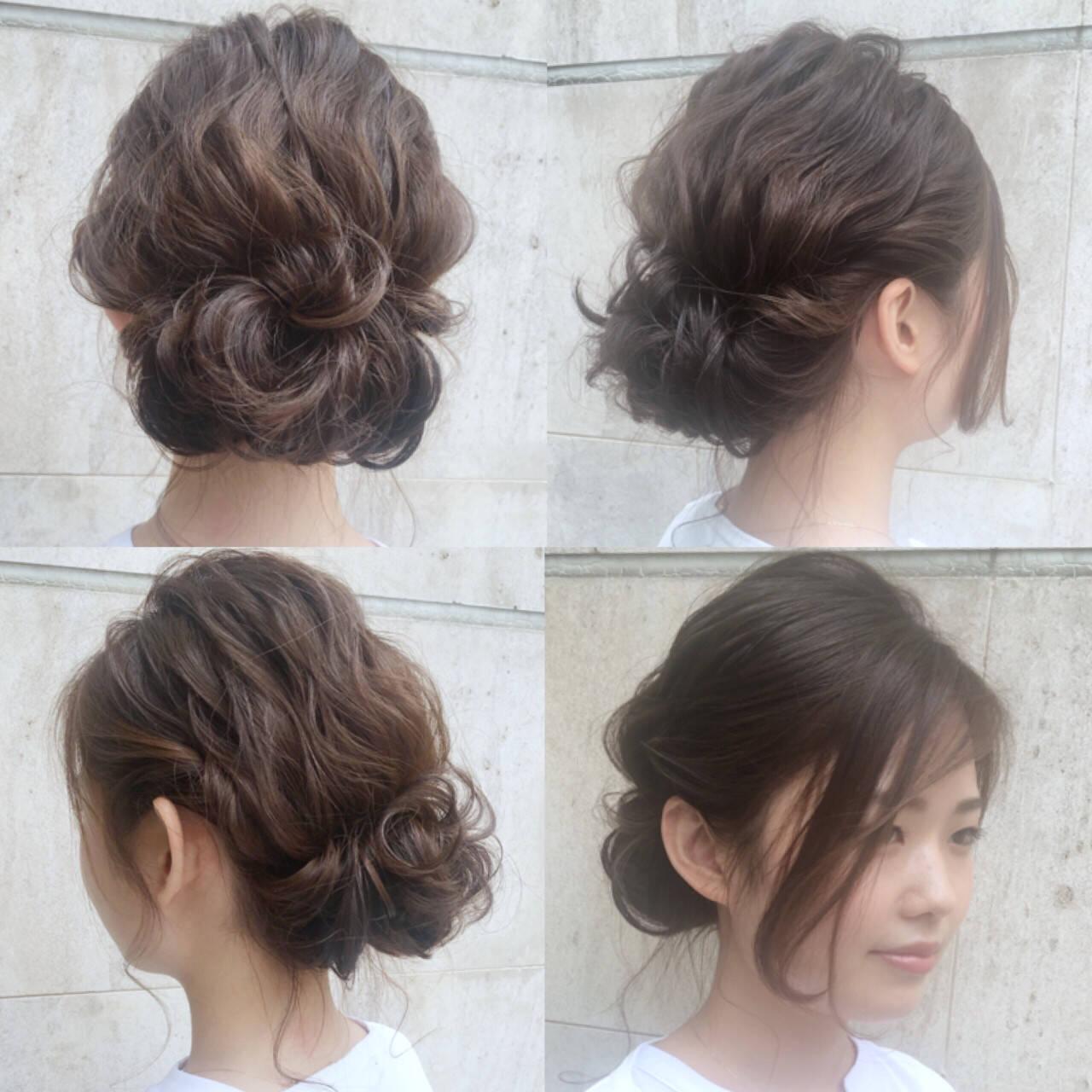 ミディアム 大人かわいい ゆるふわ 結婚式ヘアスタイルや髪型の写真・画像