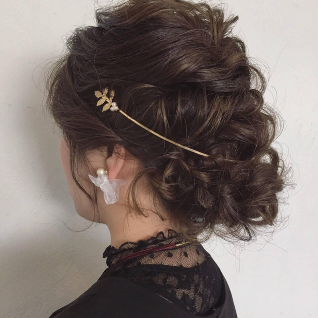 セミロング フェミニン ヘアアレンジ 結婚式ヘアスタイルや髪型の写真・画像