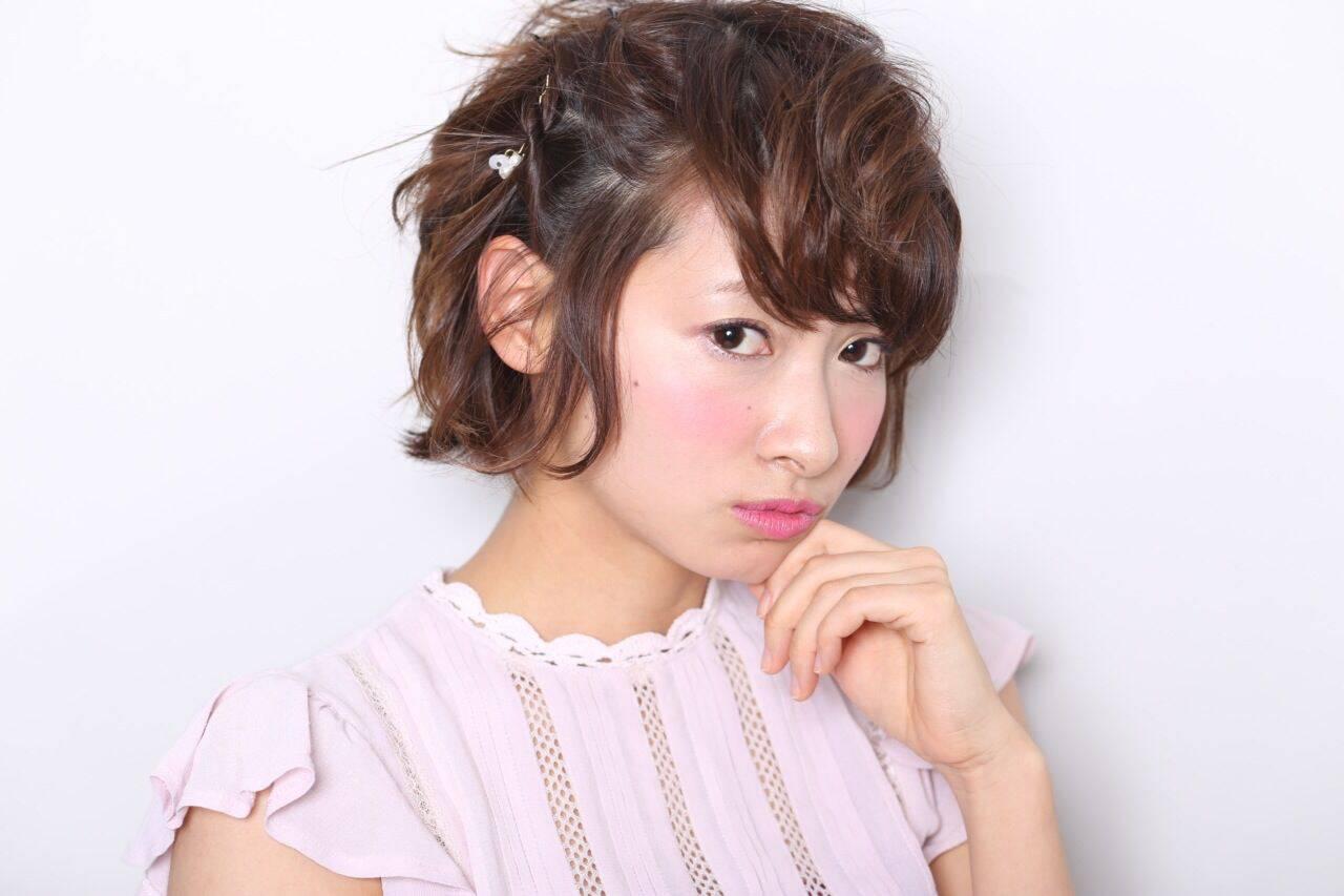 ショート ヘアアレンジ ガーリー スウィートヘアスタイルや髪型の写真・画像