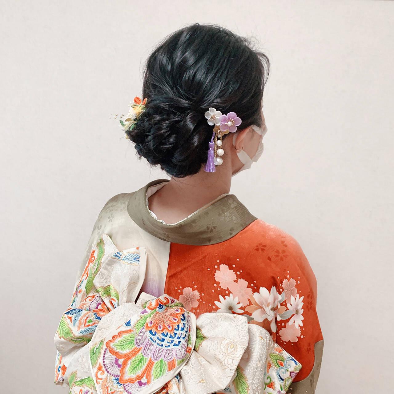振袖ヘア エレガント 和装ヘア セミロングヘアスタイルや髪型の写真・画像