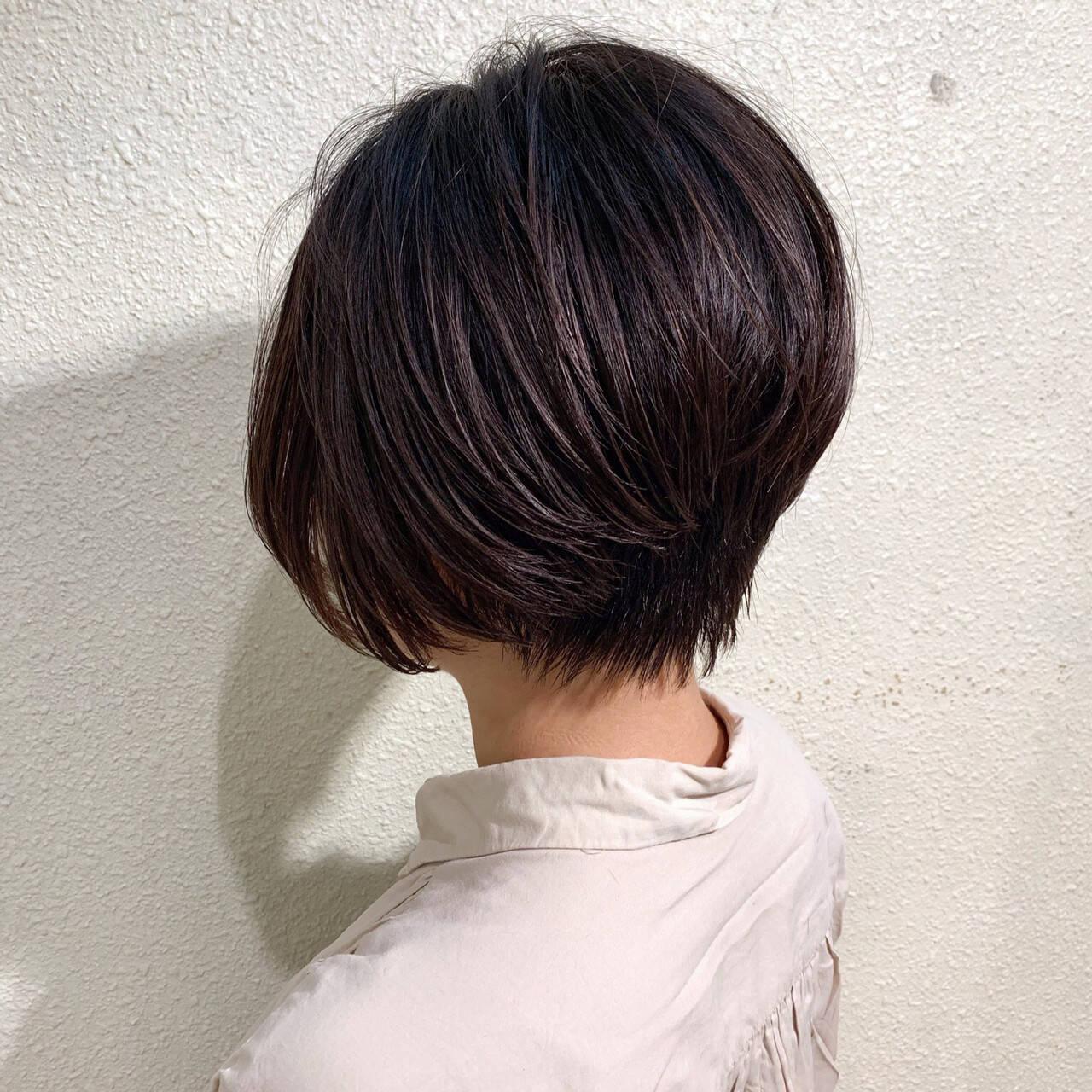 ハンサムショート ショートボブ ナチュラル ショートヘアヘアスタイルや髪型の写真・画像
