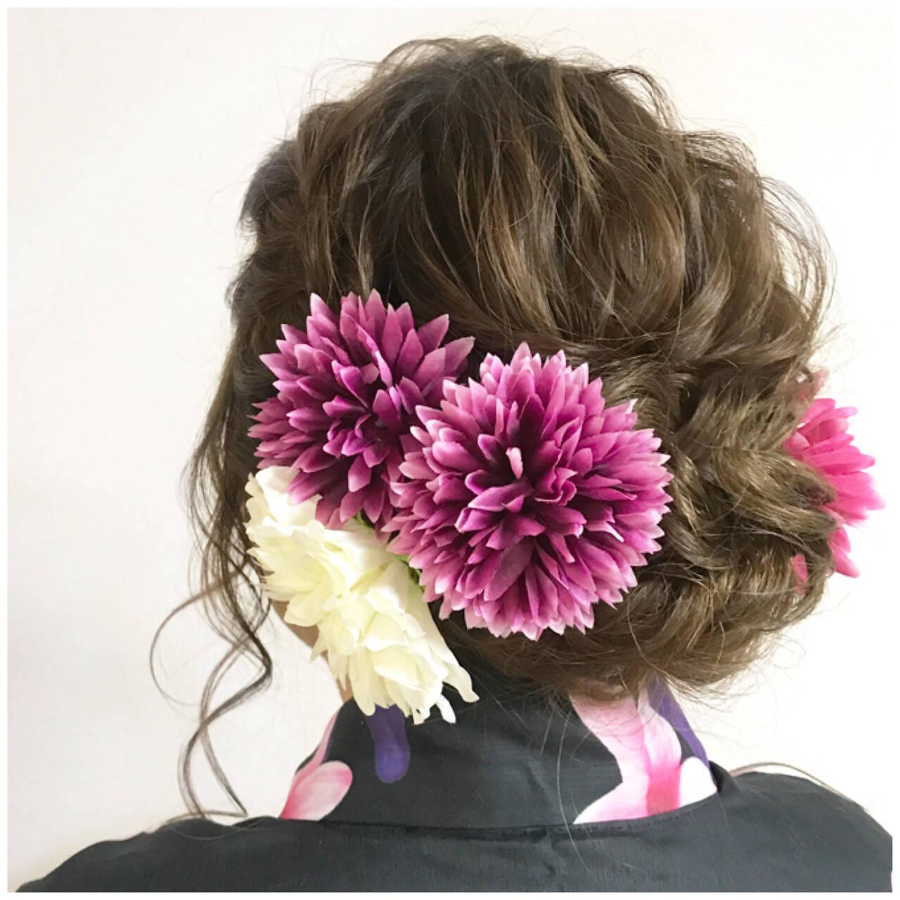 和装 まとめ髪 フェミニン ヘアアレンジヘアスタイルや髪型の写真・画像