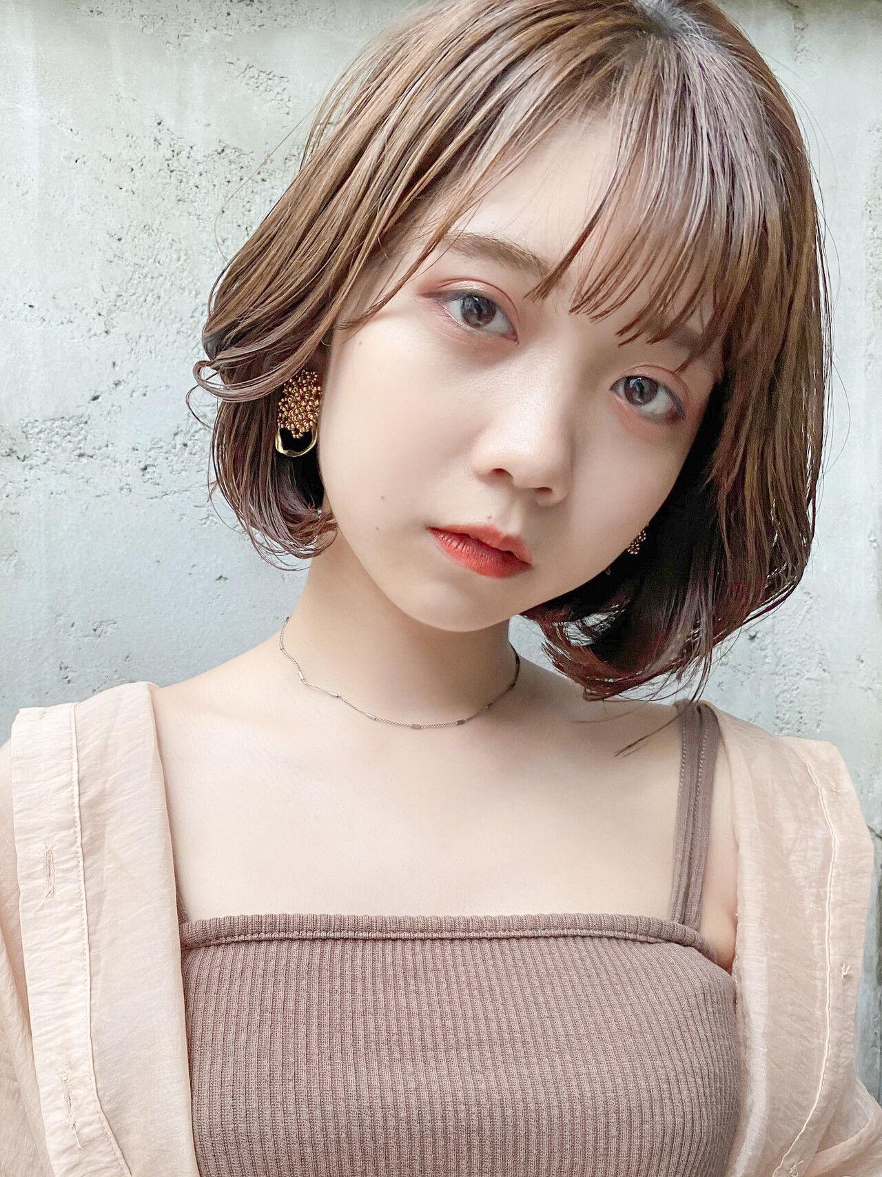 韓国ヘア ボブ デジタルパーマ ナチュラルヘアスタイルや髪型の写真・画像