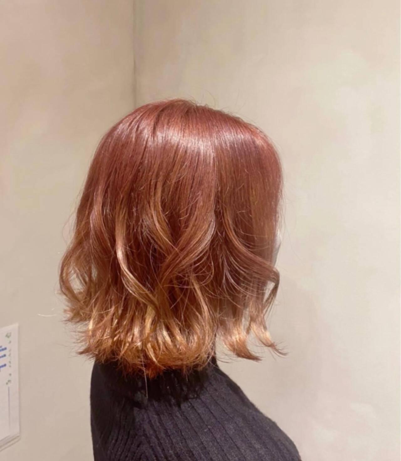 ボブ ピンクブラウン ナチュラル オレンジベージュヘアスタイルや髪型の写真・画像